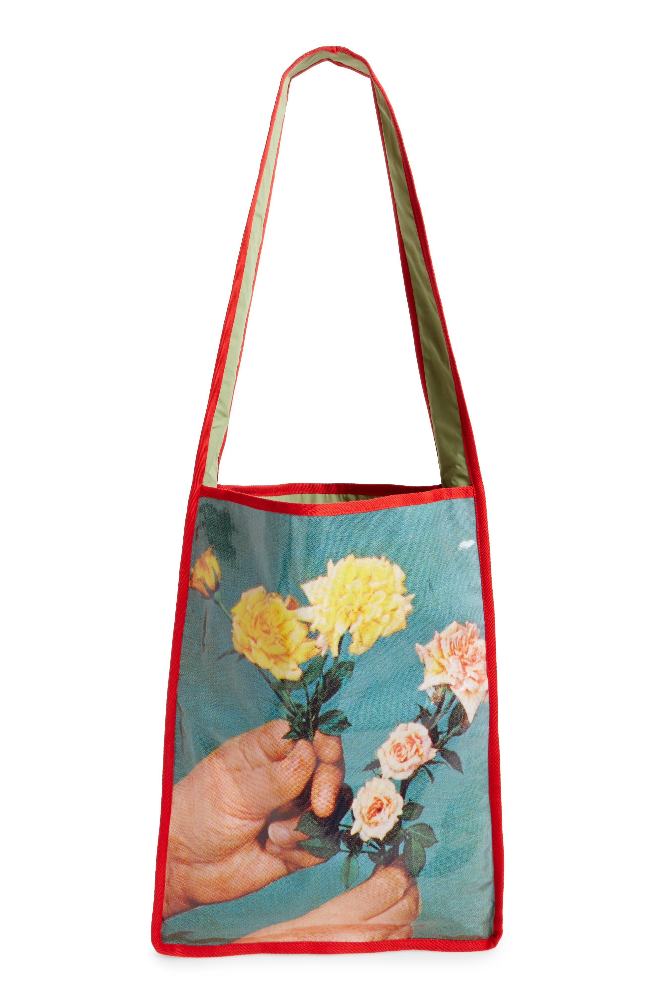 Hand Print Long Messenger Bag,                         Main,                         color, Floral Print/Red