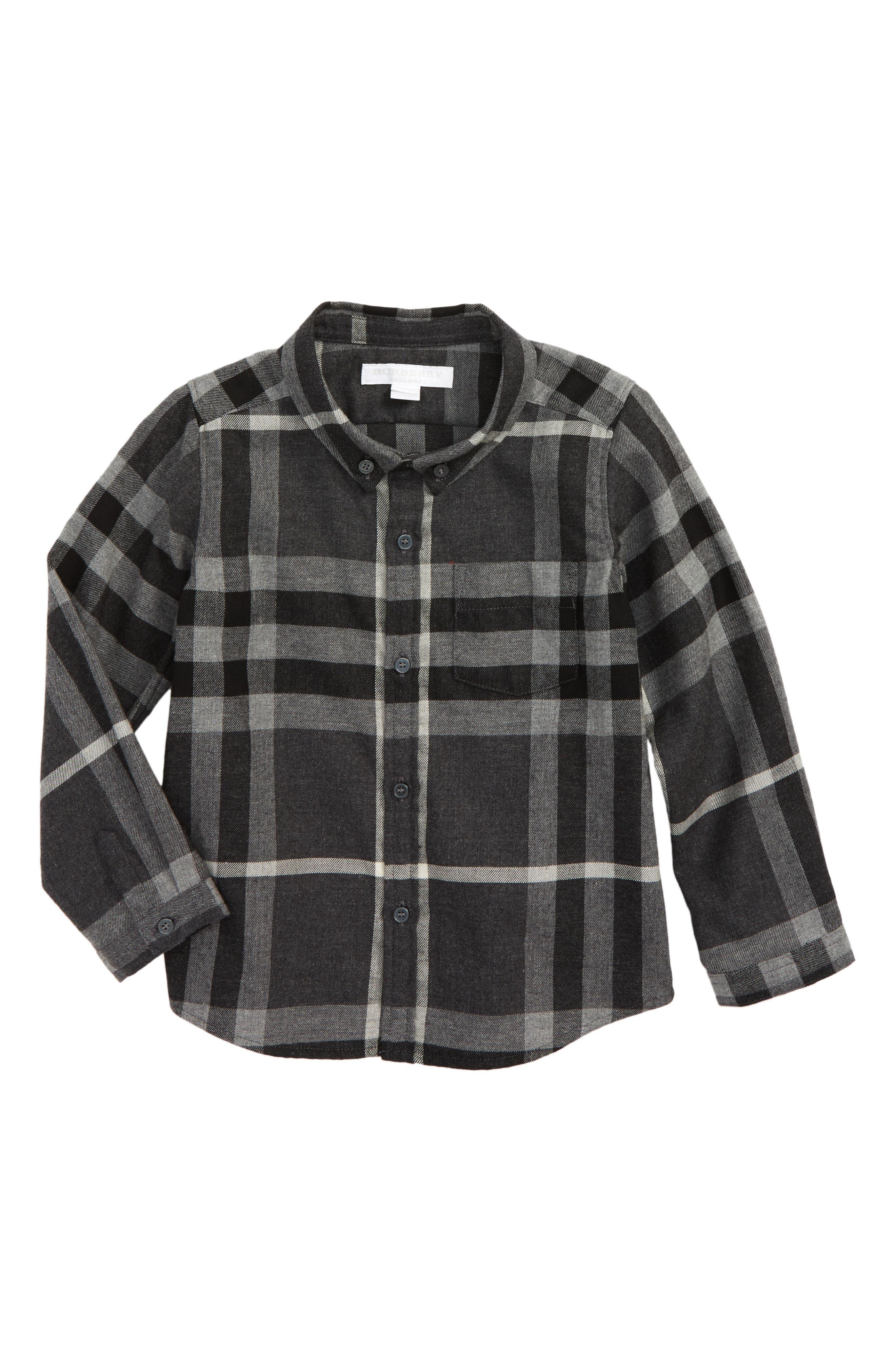 Main Image - Burberry Mini Fred Plaid Shirt (Toddler Boys)