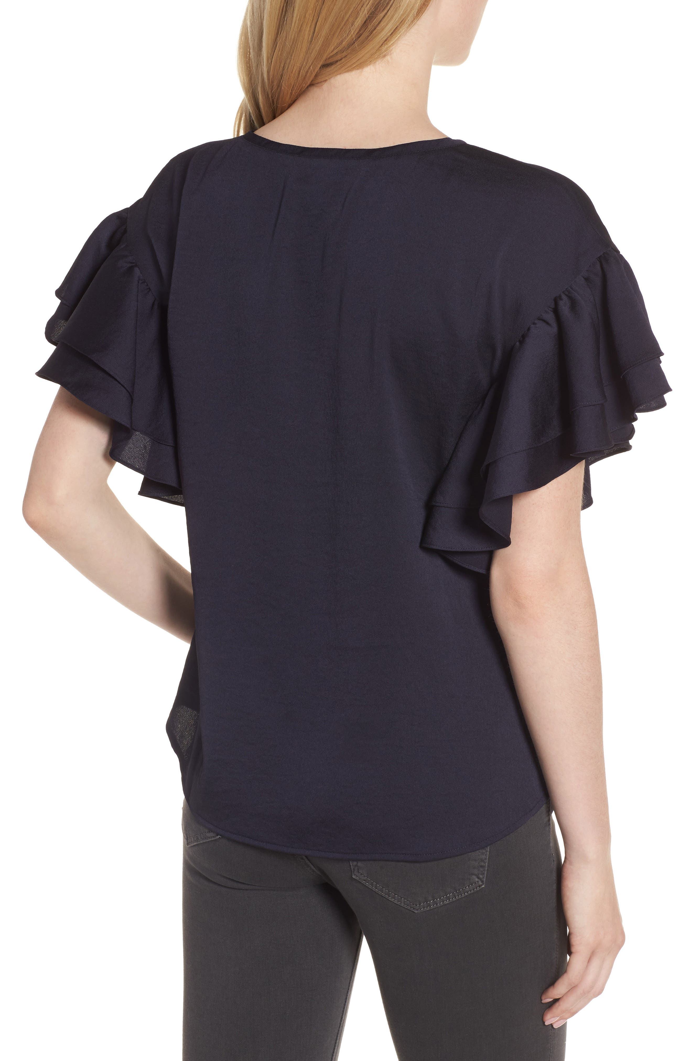 Ruffle Sleeve Top,                             Alternate thumbnail 2, color,                             Navy Well