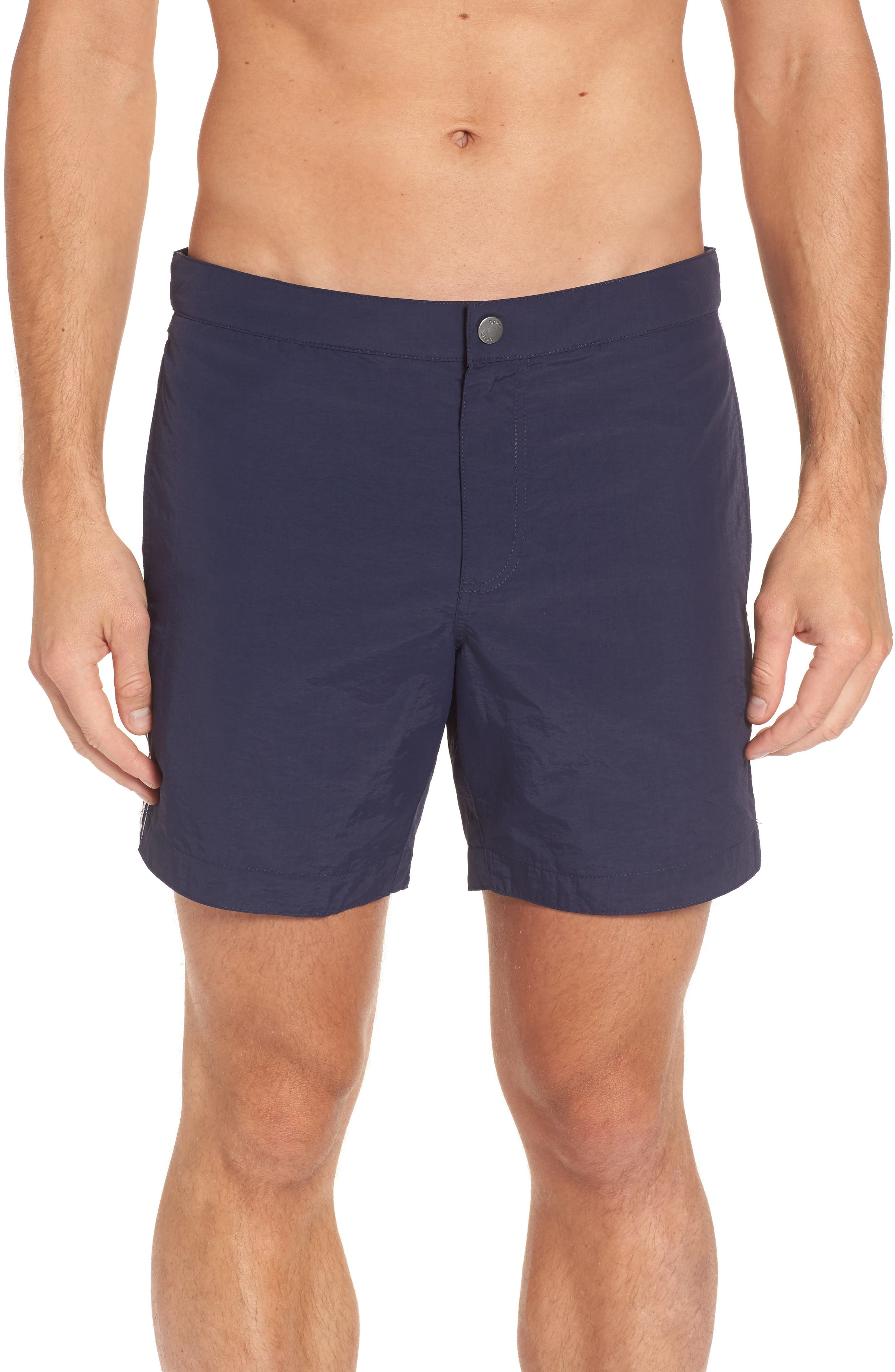 Aruba Tailored Fit French Stripe Swim Trunks,                             Main thumbnail 1, color,                             Navy French Stripes