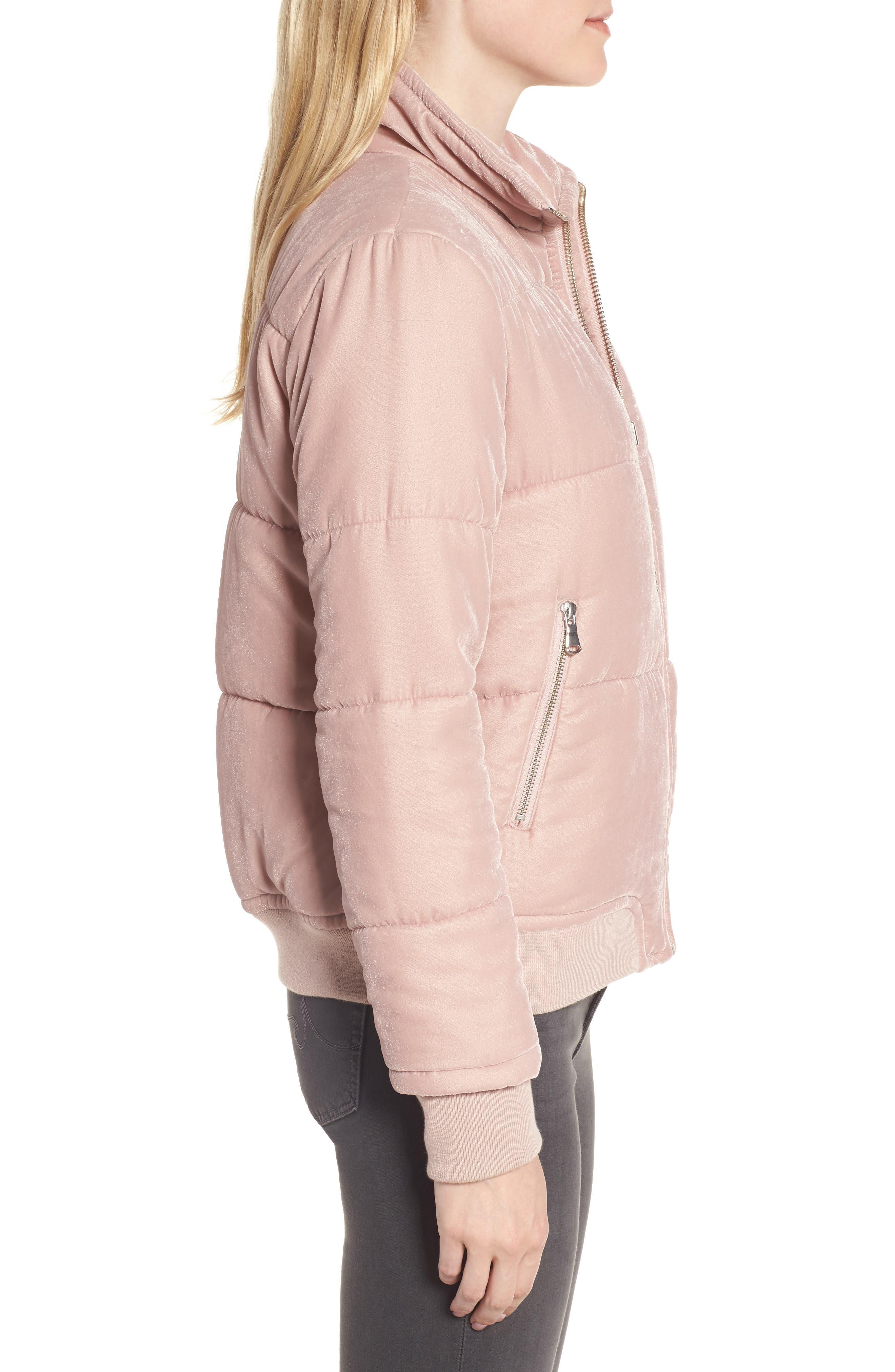 Quilted Velvet Jacket,                             Alternate thumbnail 3, color,                             Pink Adobe