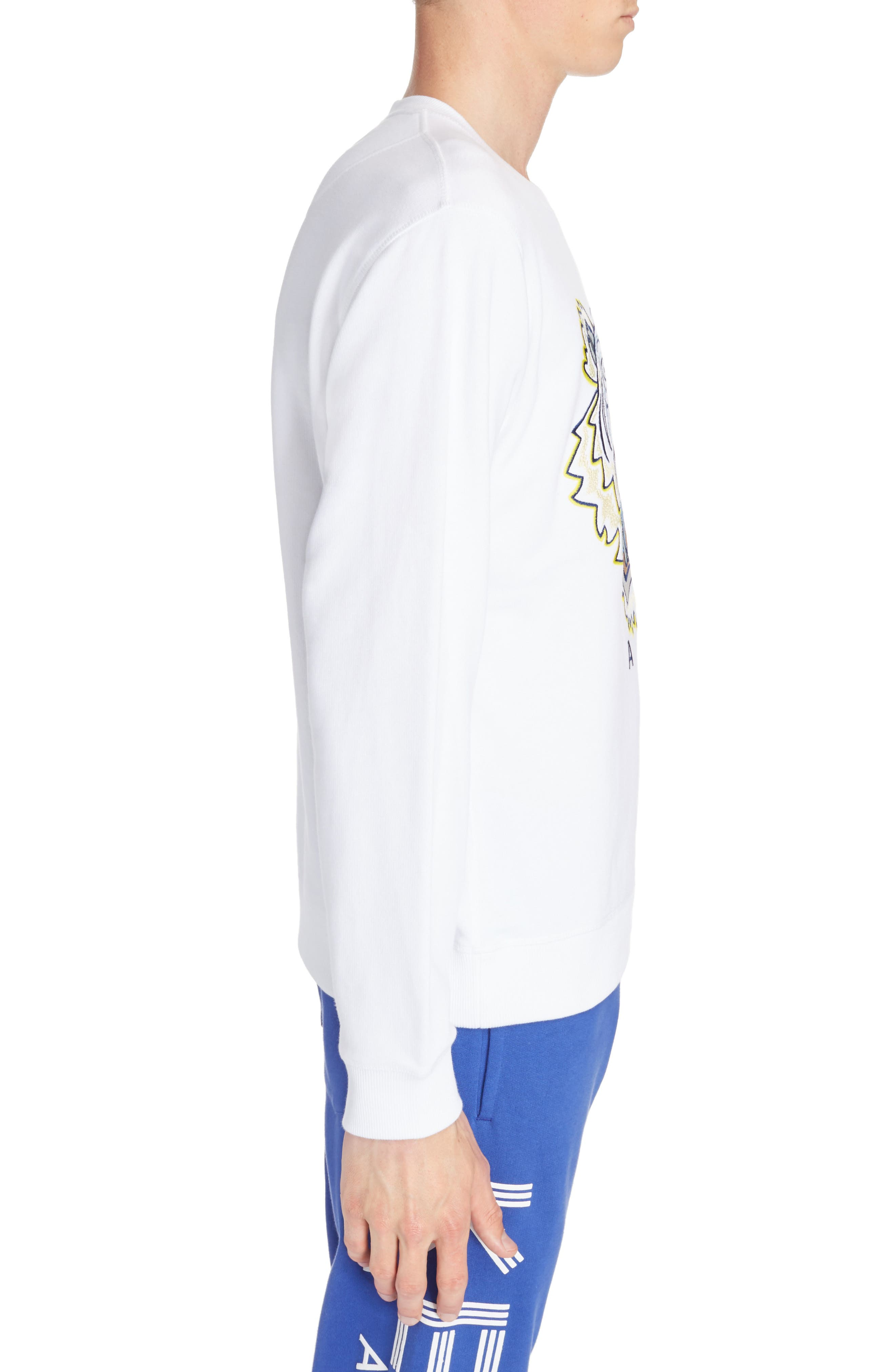 Embroidered Tiger Sweatshirt,                             Alternate thumbnail 3, color,                             White
