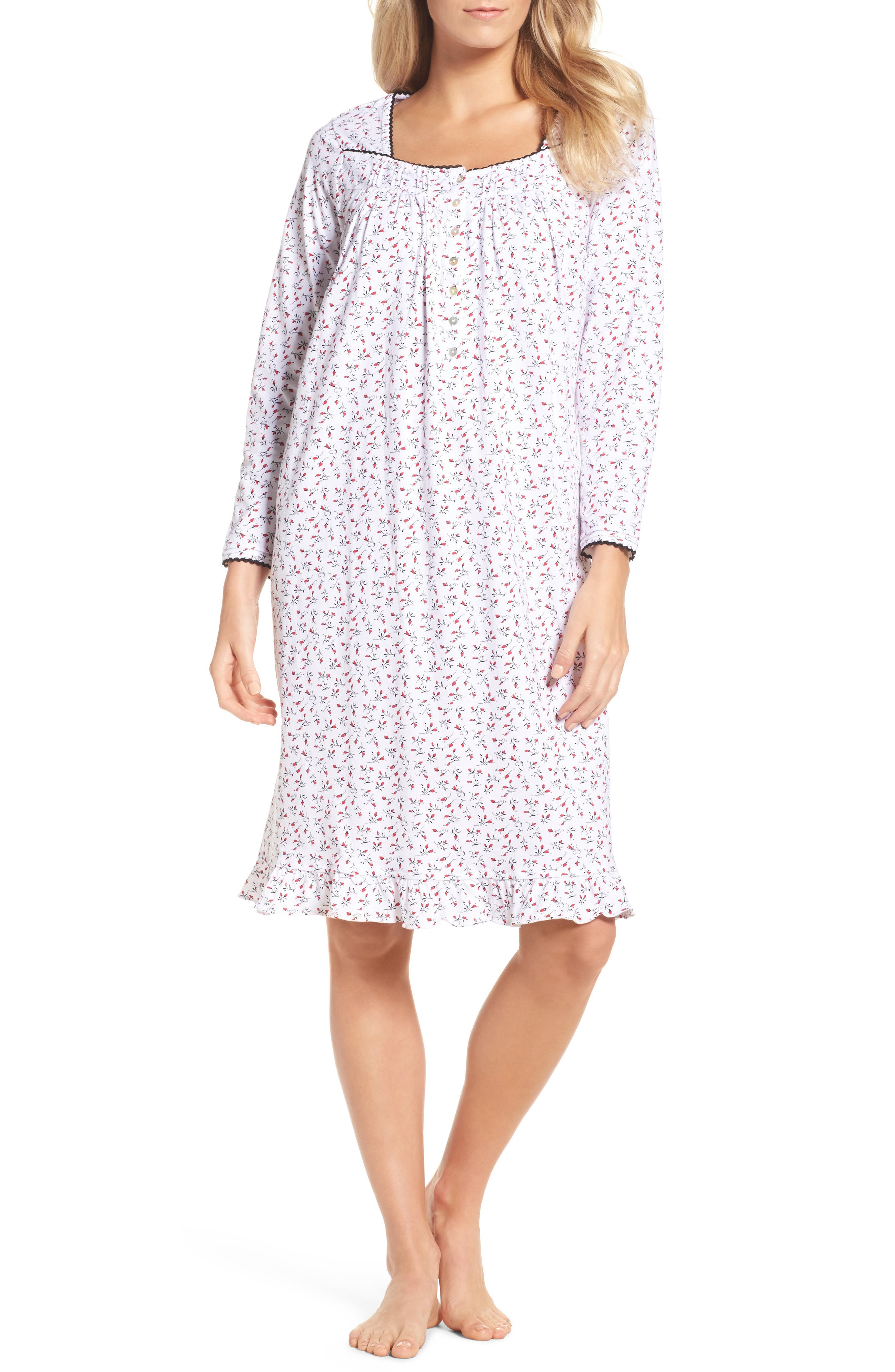 Short Nightgown,                         Main,                         color, Red And Black Bud
