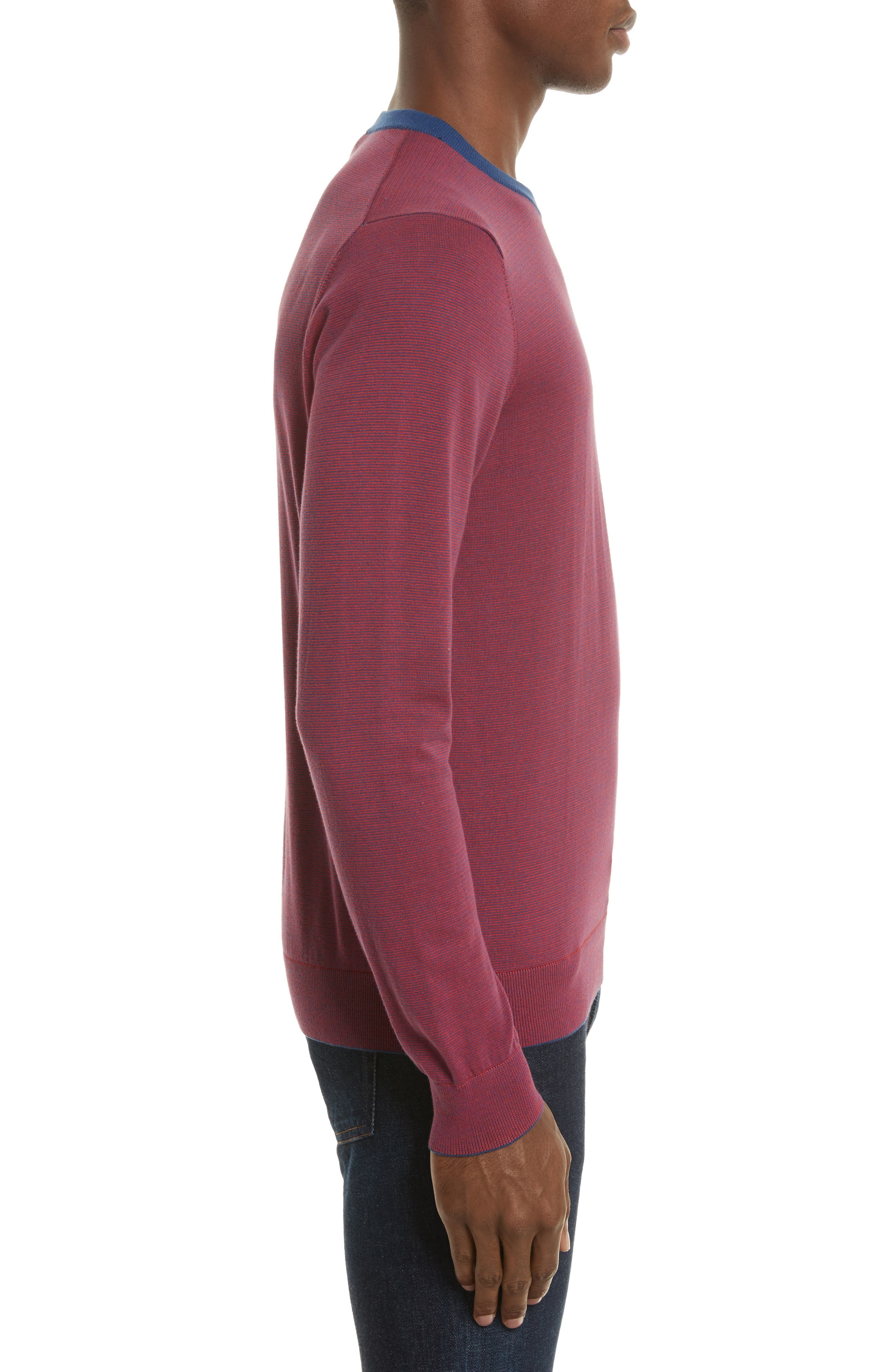Ministripe Crewneck Sweater,                             Alternate thumbnail 3, color,                             Red