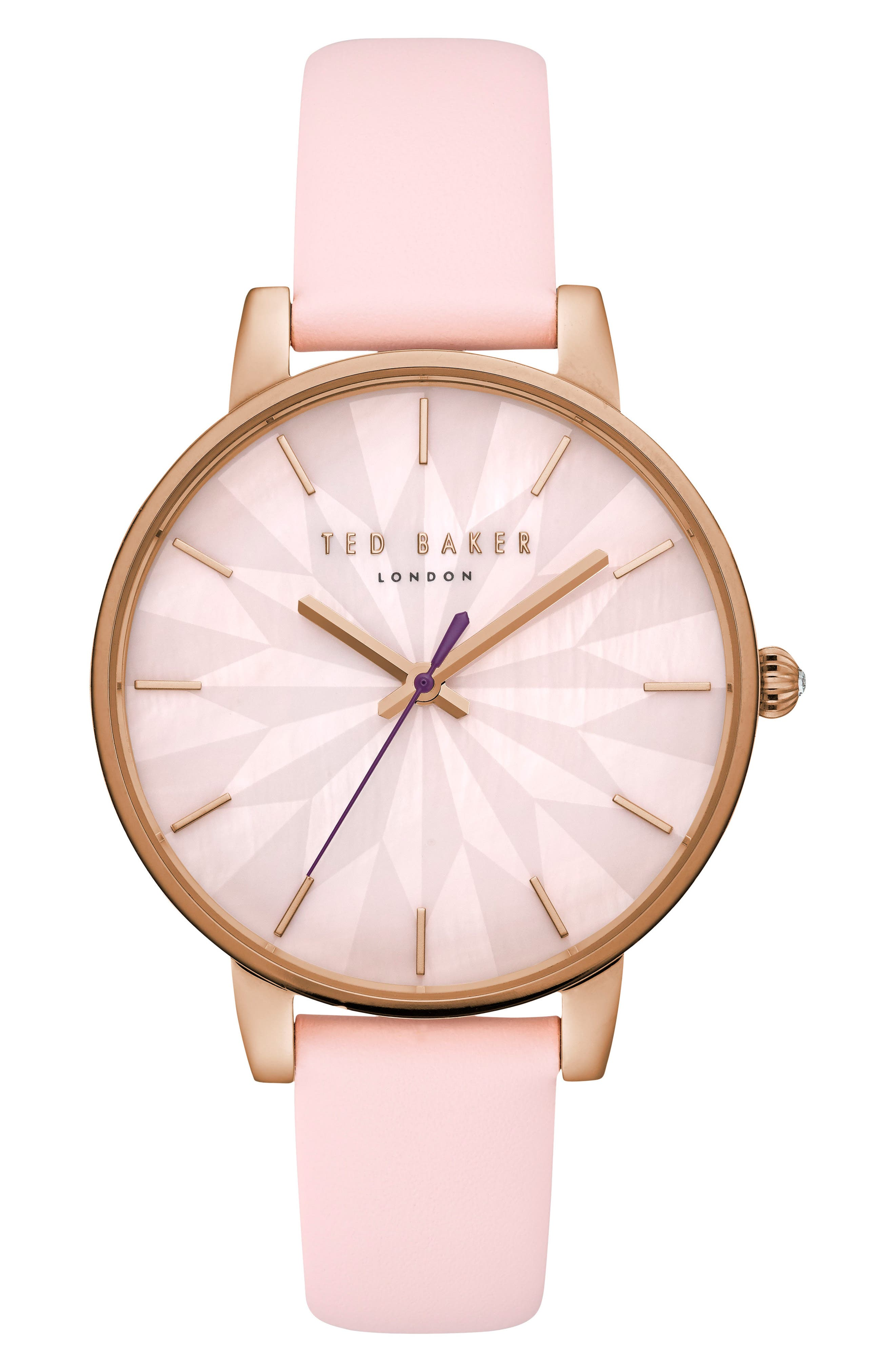 Kate Leather Strap Watch, 38mm,                             Main thumbnail 1, color,                             Pink/ Mop/ Rose Gold