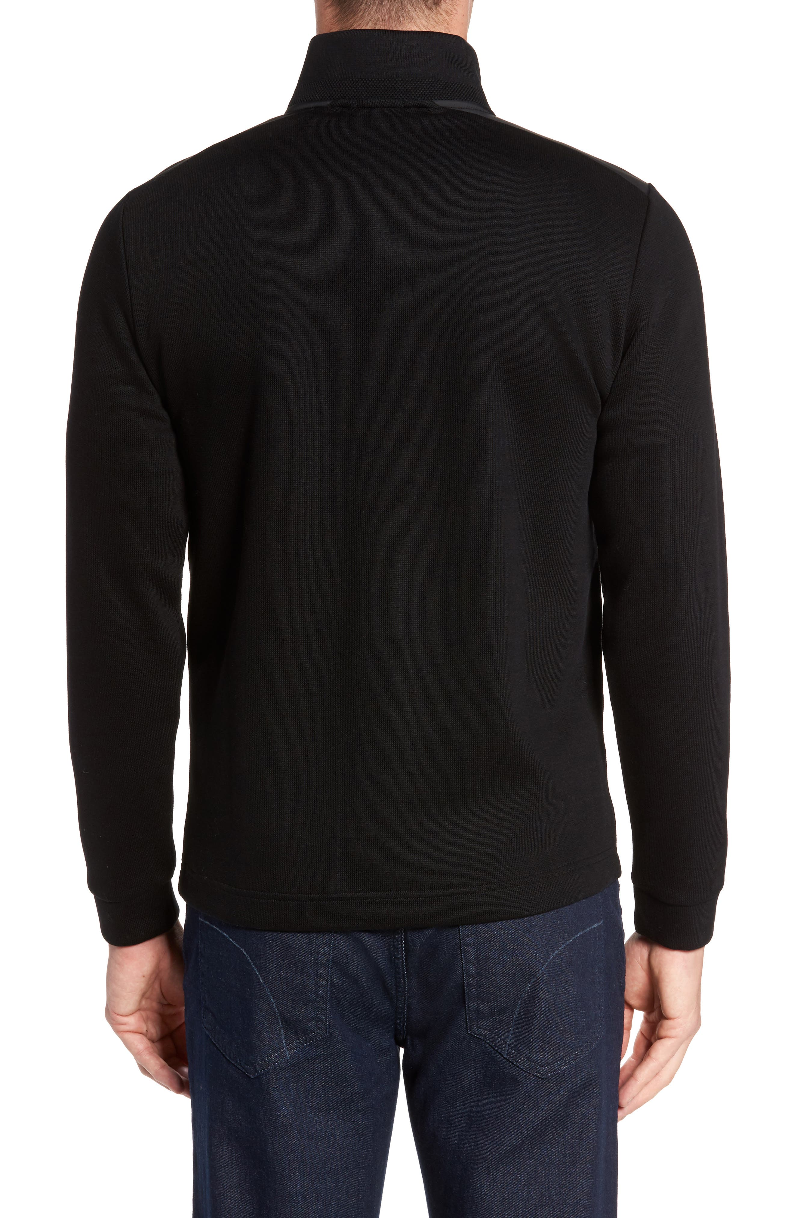 C-Piceno Quarter Zip Fleece Pullover,                             Alternate thumbnail 2, color,                             Black