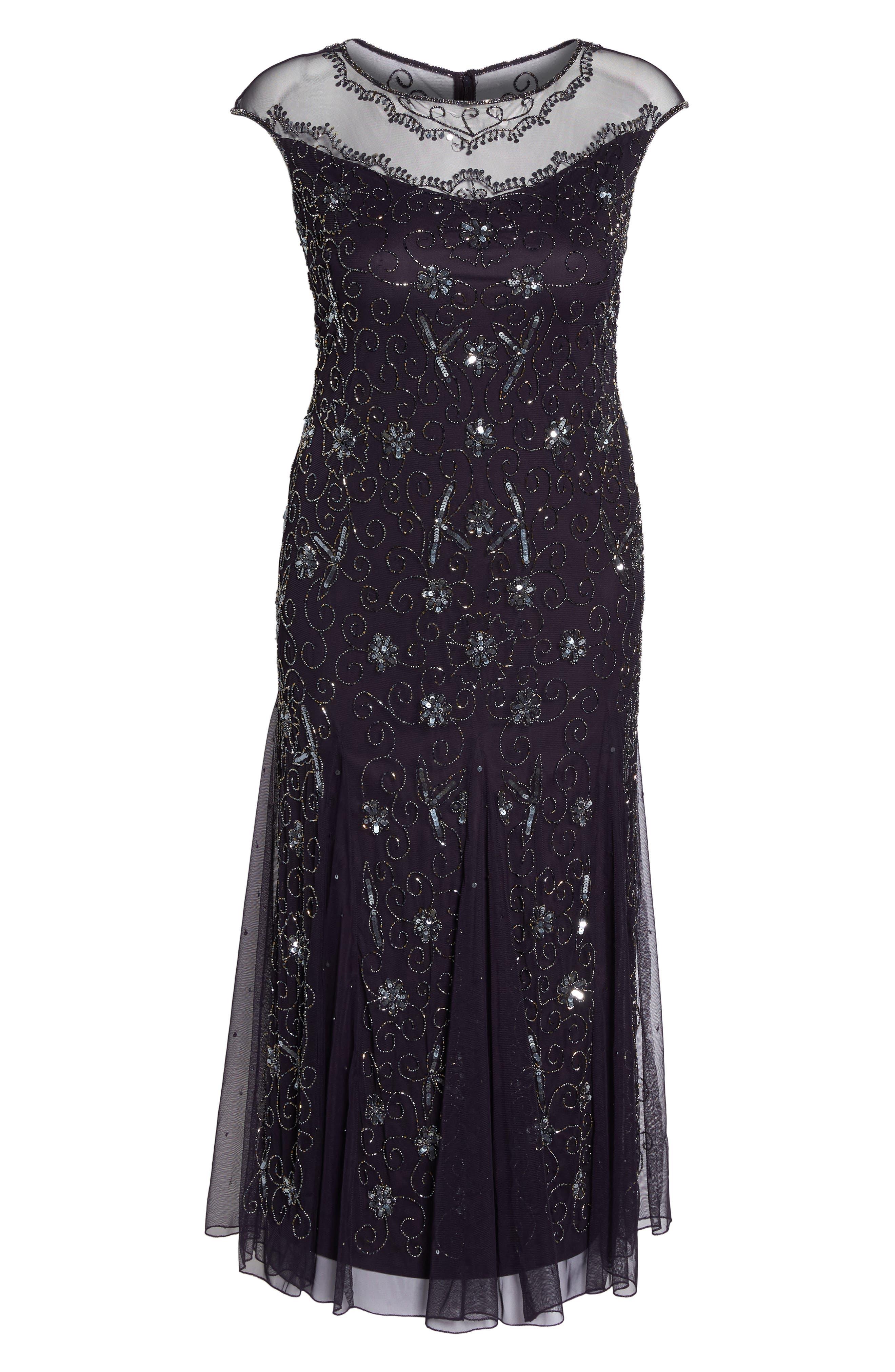 Alternate Image 6  - Pisarro Nights Embellished Mesh Godet Gown (Plus Size)