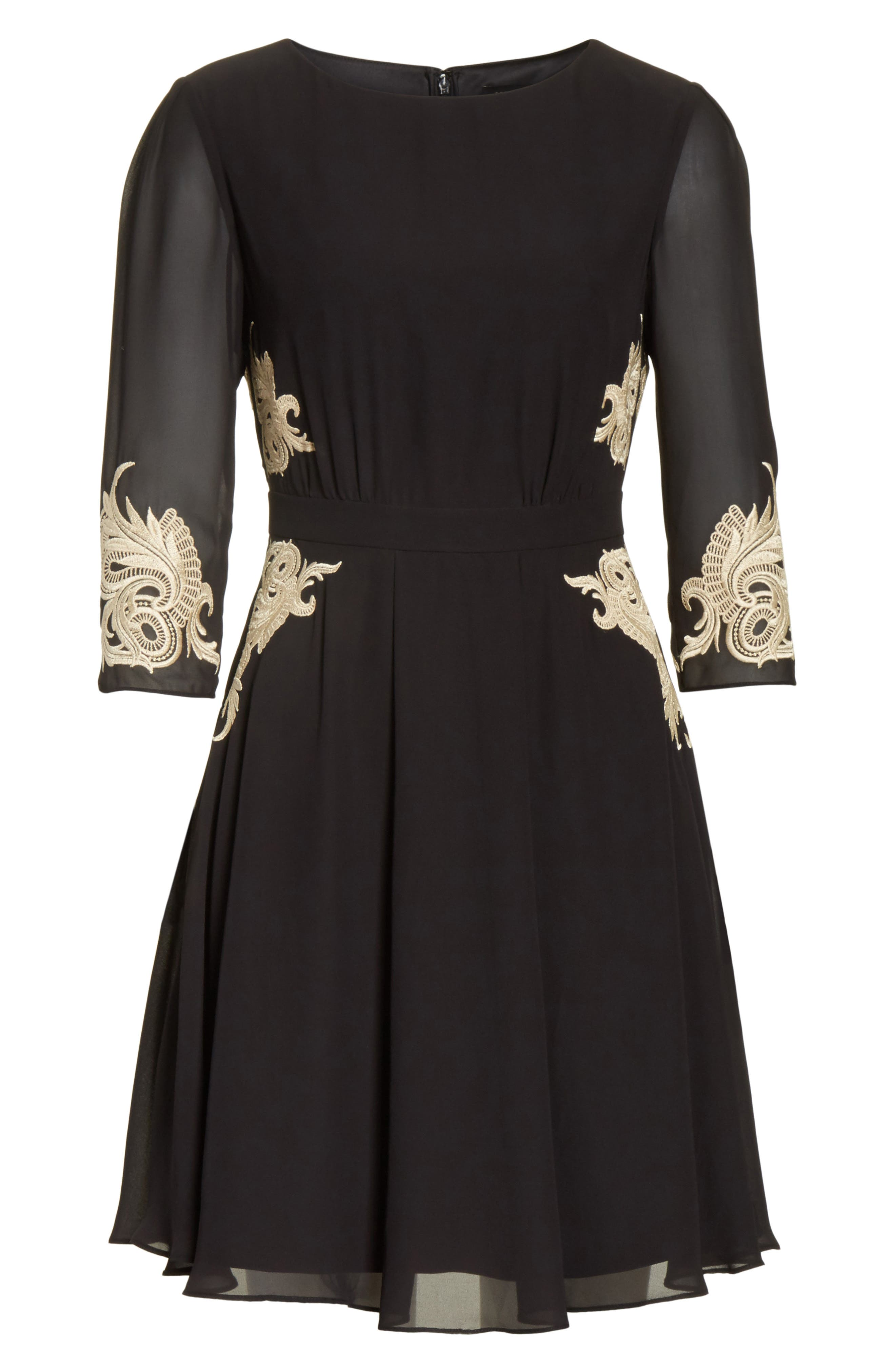 Gaenor Embroidered Fit & Flare Dress,                             Alternate thumbnail 7, color,                             Black