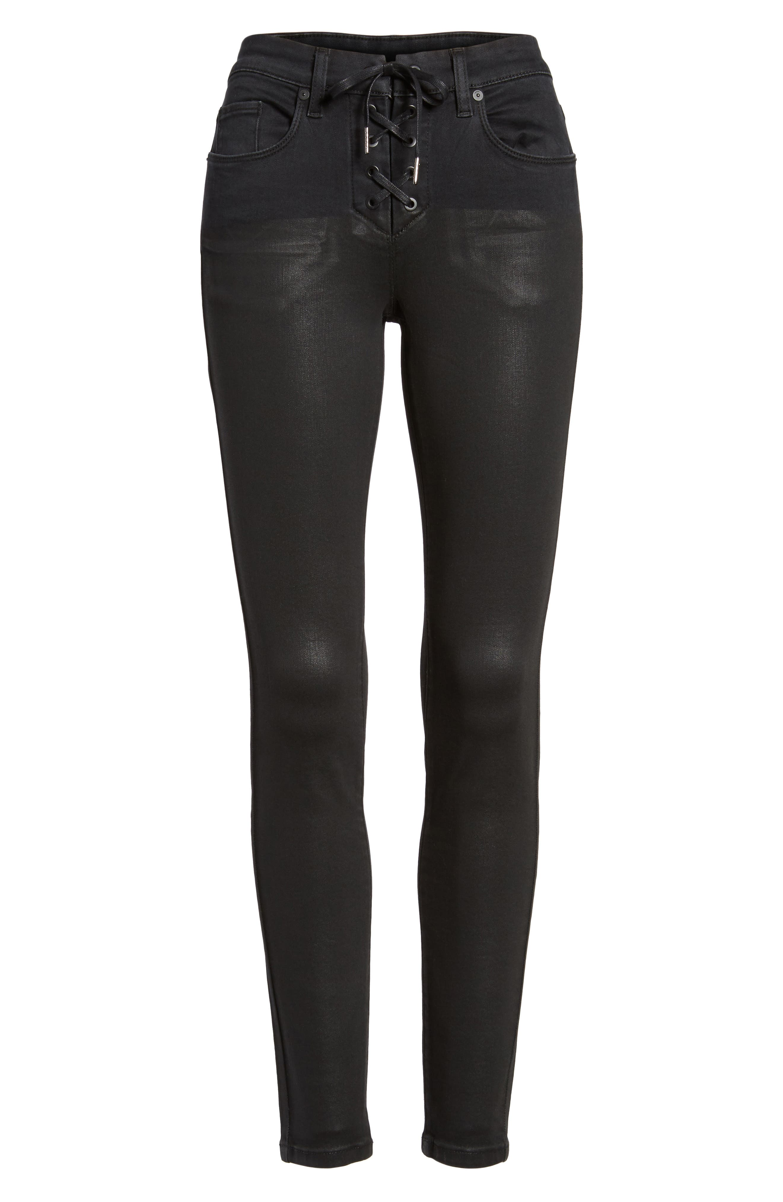 Alternate Image 6  - BLANKNYC Black Jack Lace-Up Skinny Jeans (Smoked Out)