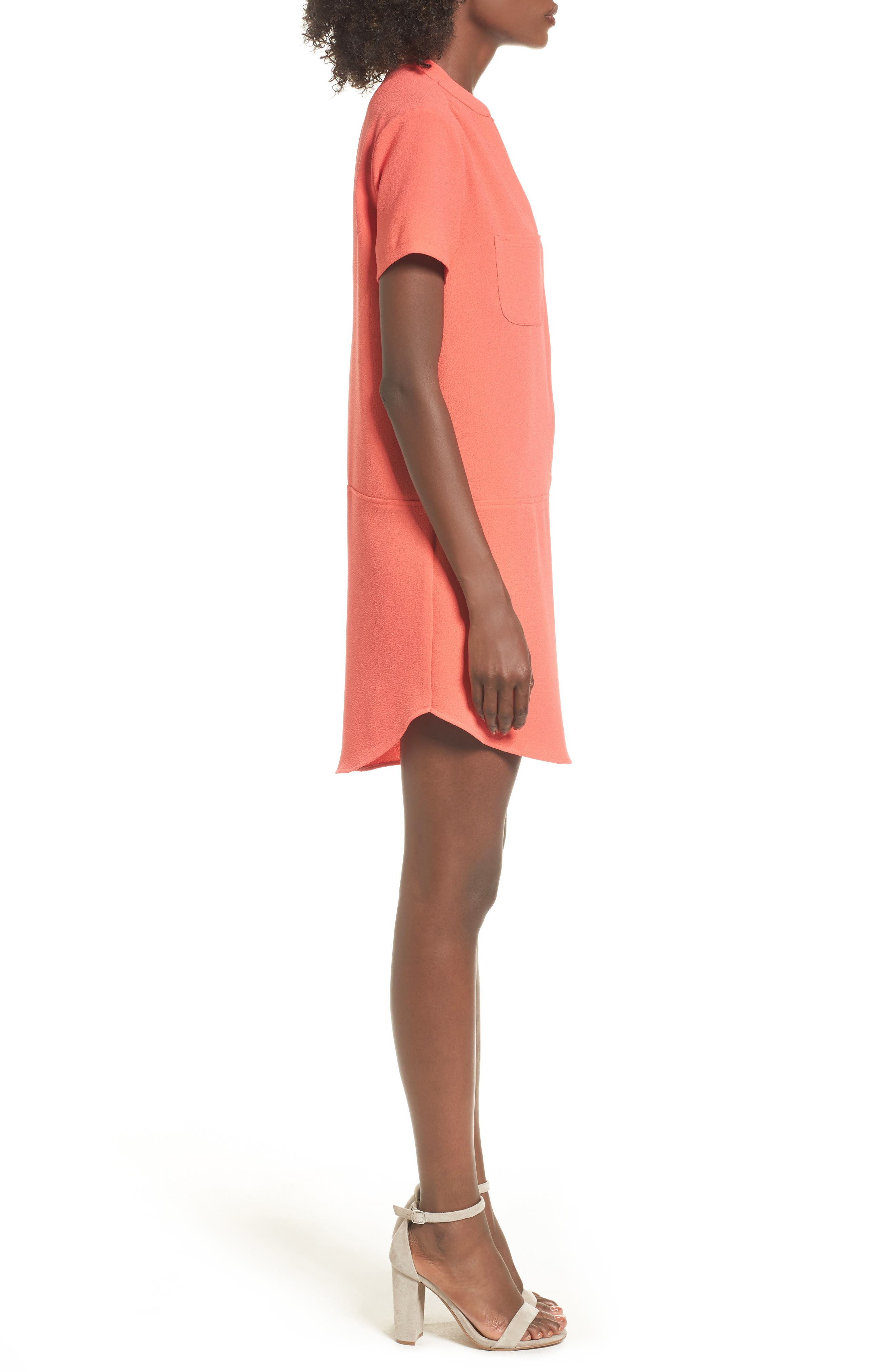 Hailey Crepe Dress,                             Alternate thumbnail 3, color,                             Hot Coral