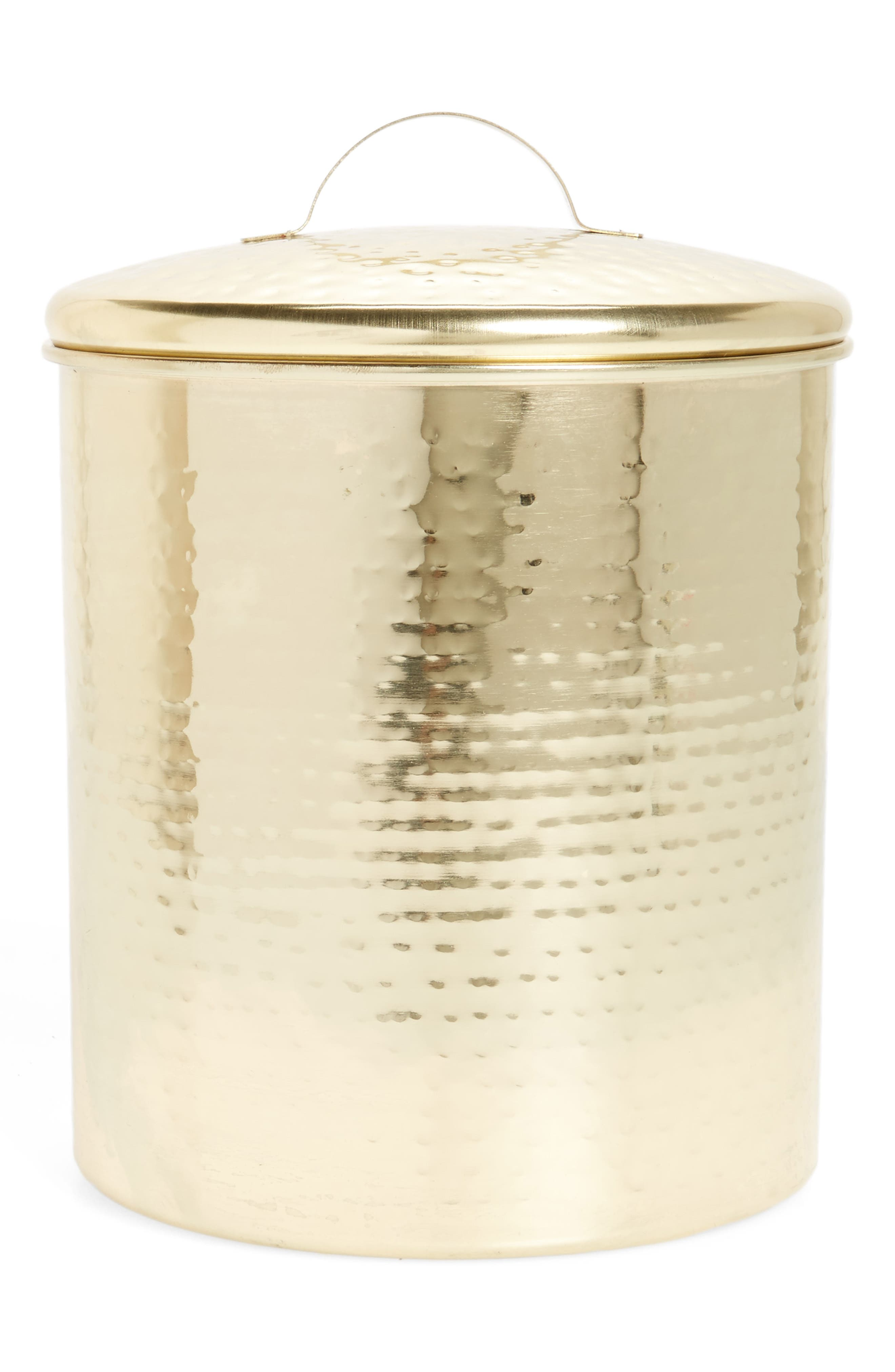 Large Hammered Gold Canister,                         Main,                         color, Gold