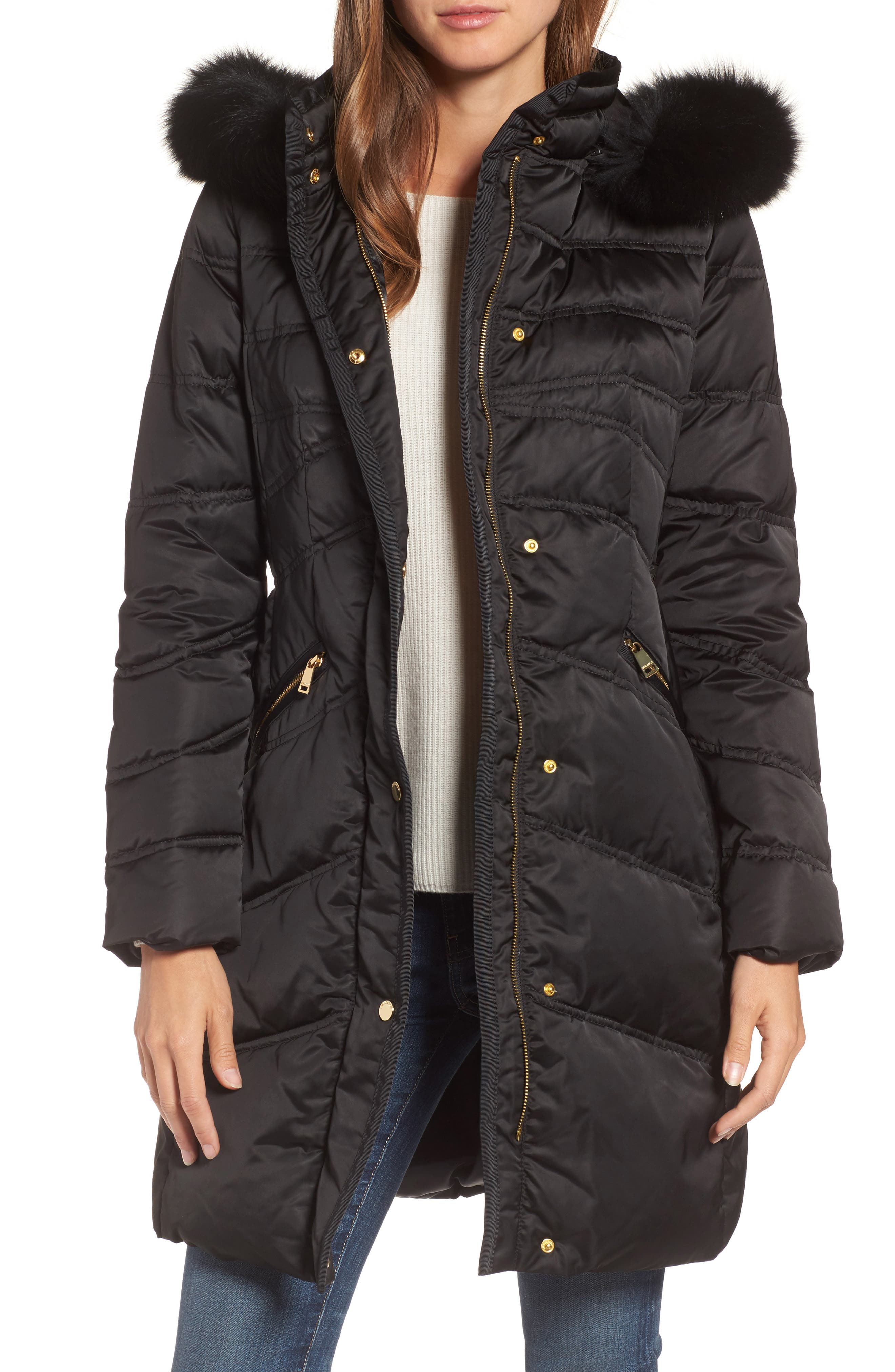 Insulated Parka with Genuine Fox Fur Trim,                             Main thumbnail 1, color,                             Black