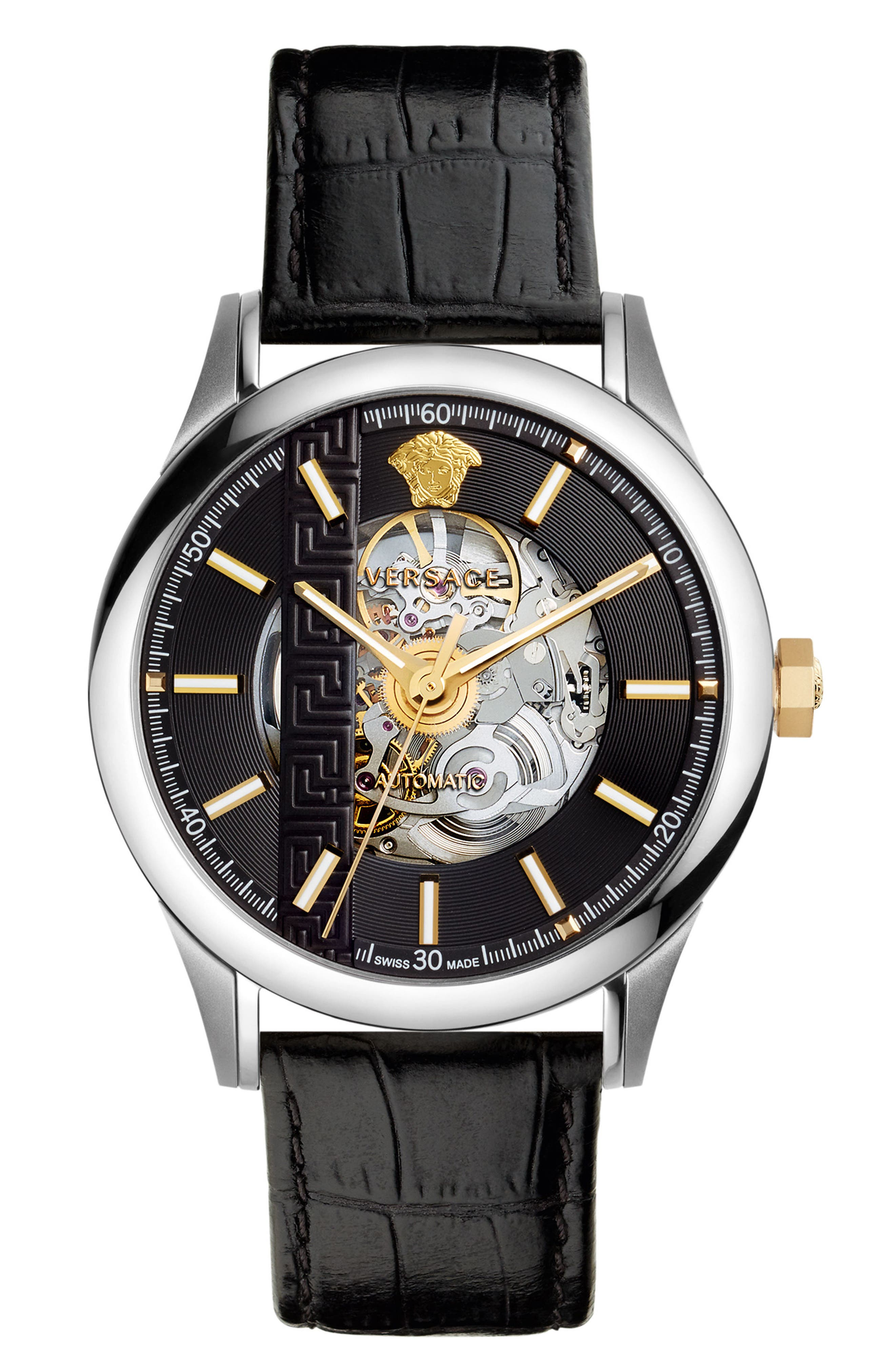 Versace Aiakos Automatic Skeleton Leather Strap Watch, 44mm