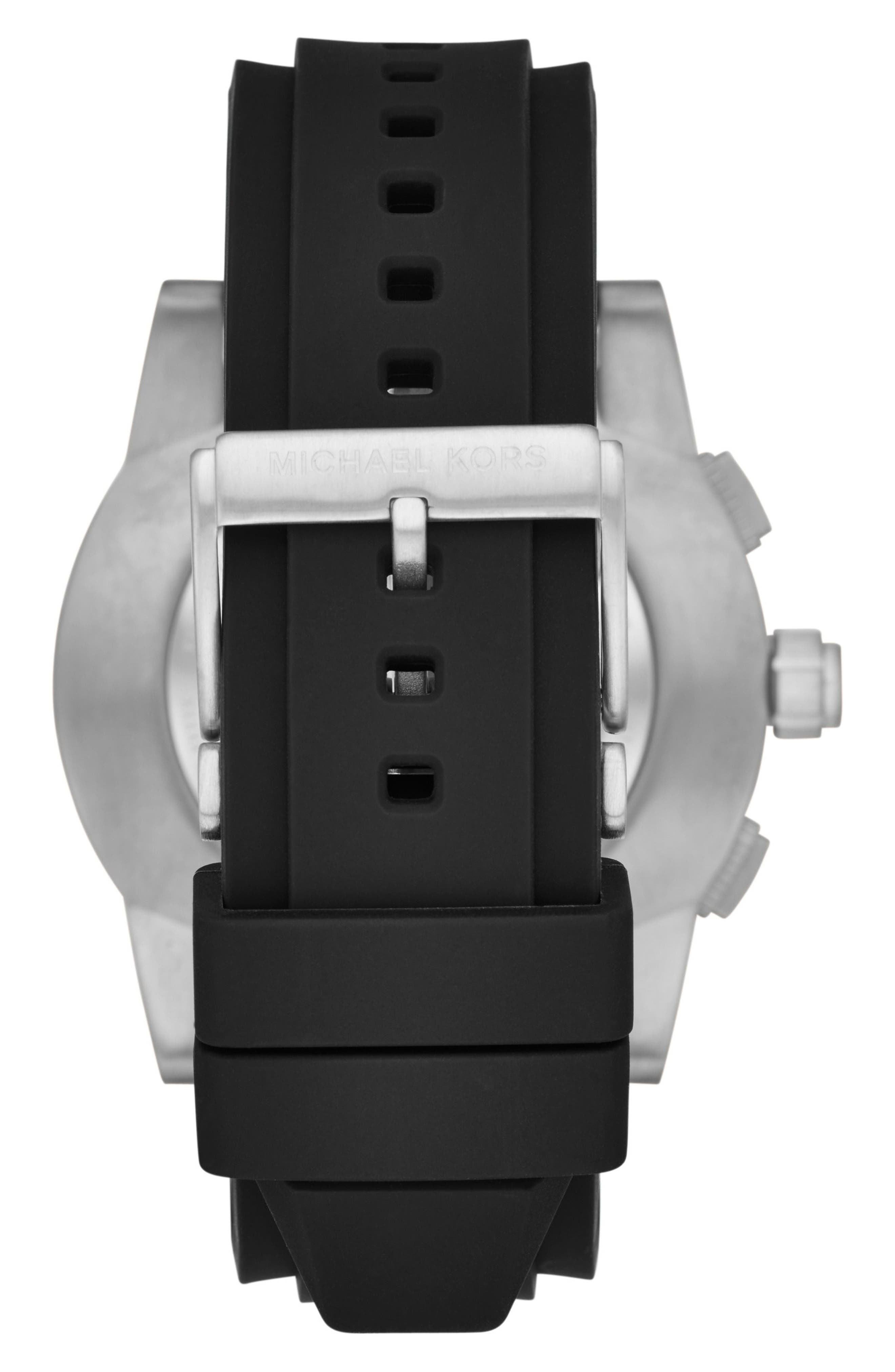Grayson Hybrid Silicone Strap Smart Watch, 47mm,                             Alternate thumbnail 2, color,                             Black/ Silver