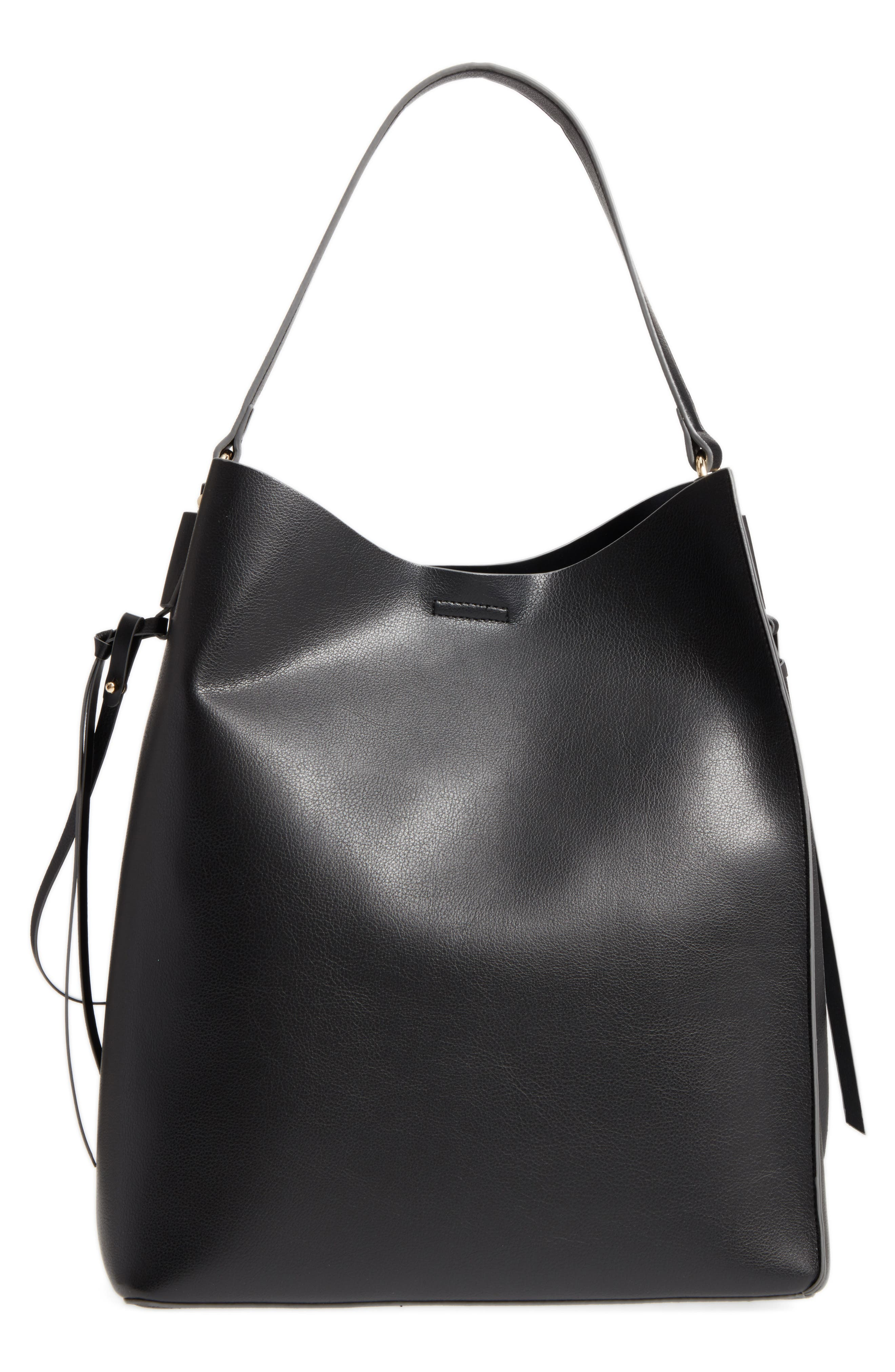 Prima Faux Leather Bucket Bag & Zip Pouch,                             Main thumbnail 1, color,                             Black