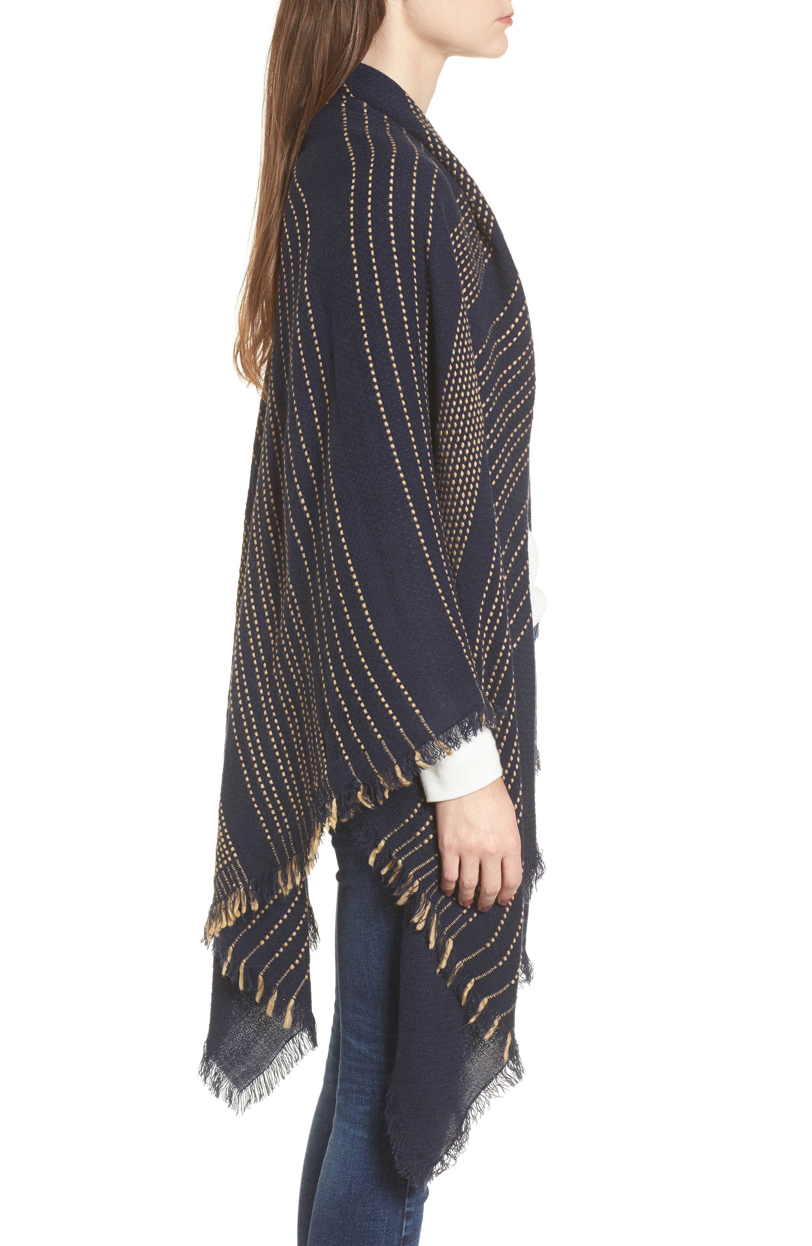 Textured Stripe Blanket Scarf,                             Alternate thumbnail 3, color,                             Navy
