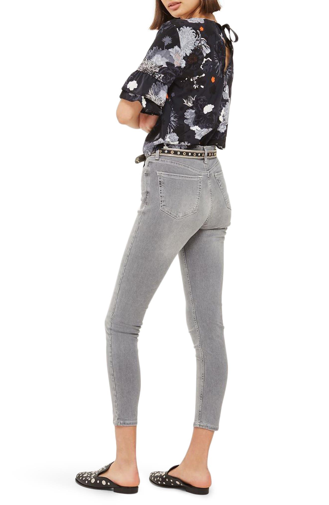Jamie High Waist Ankle Skinny Jeans,                             Alternate thumbnail 3, color,                             Grey