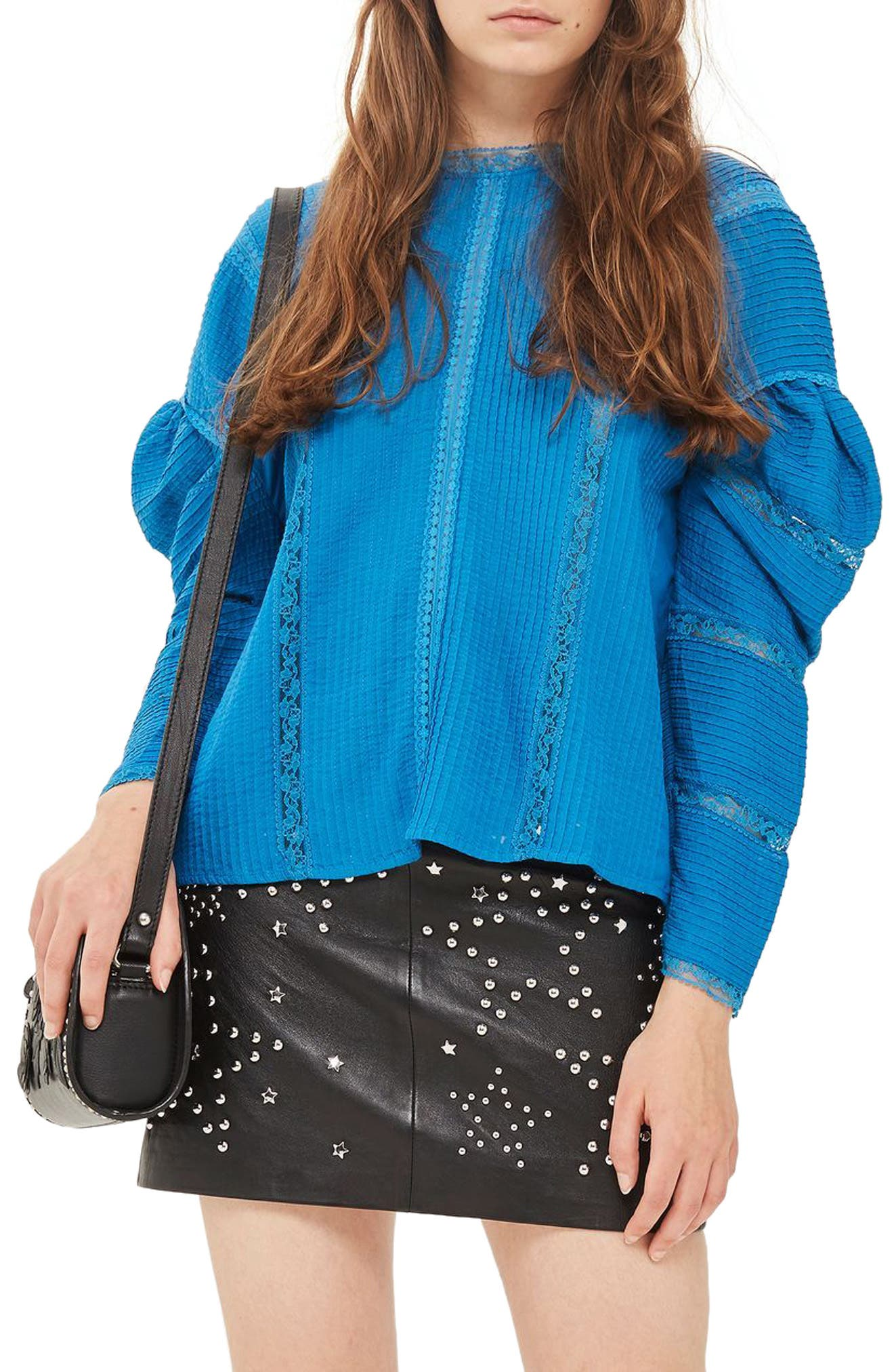 Statement Sleeve Pintuck Blouse,                         Main,                         color, Blue