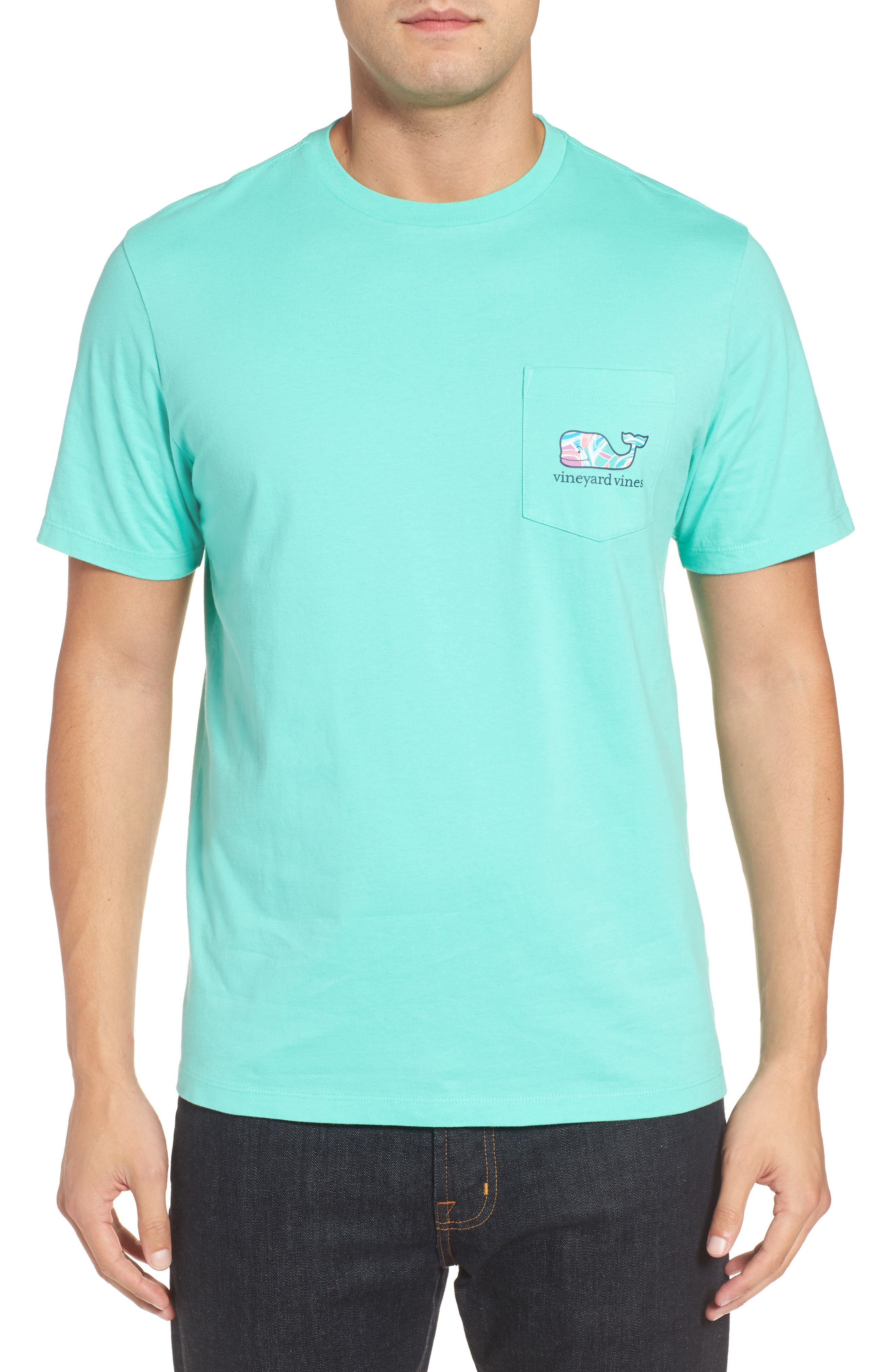 Floral Whale Fill Pocket T-Shirt,                             Alternate thumbnail 2, color,                             Antigua Green