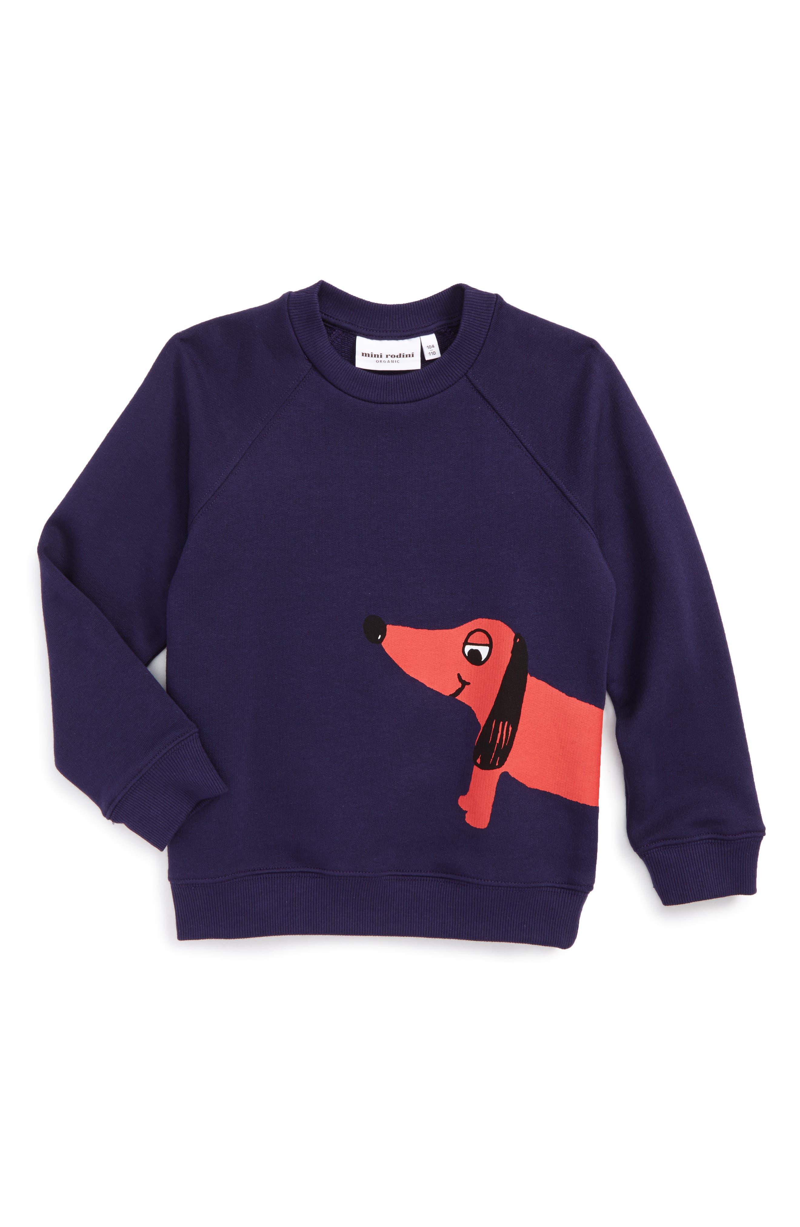 Alternate Image 1 Selected - Mini Rodini Dog Sweatshirt (Toddler Boys & Little Boys)