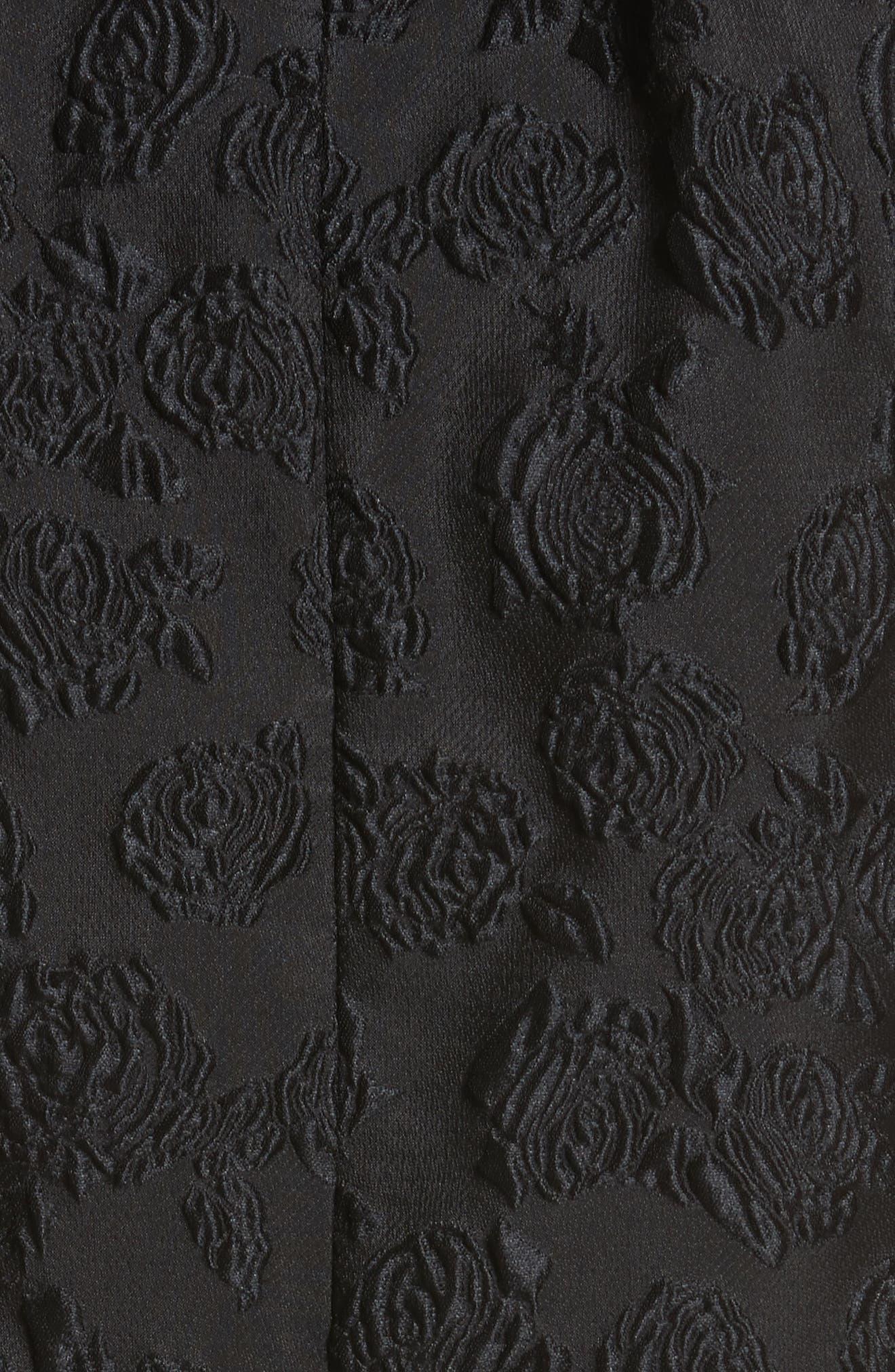 Rose Jacquard Dress,                             Alternate thumbnail 6, color,                             Black
