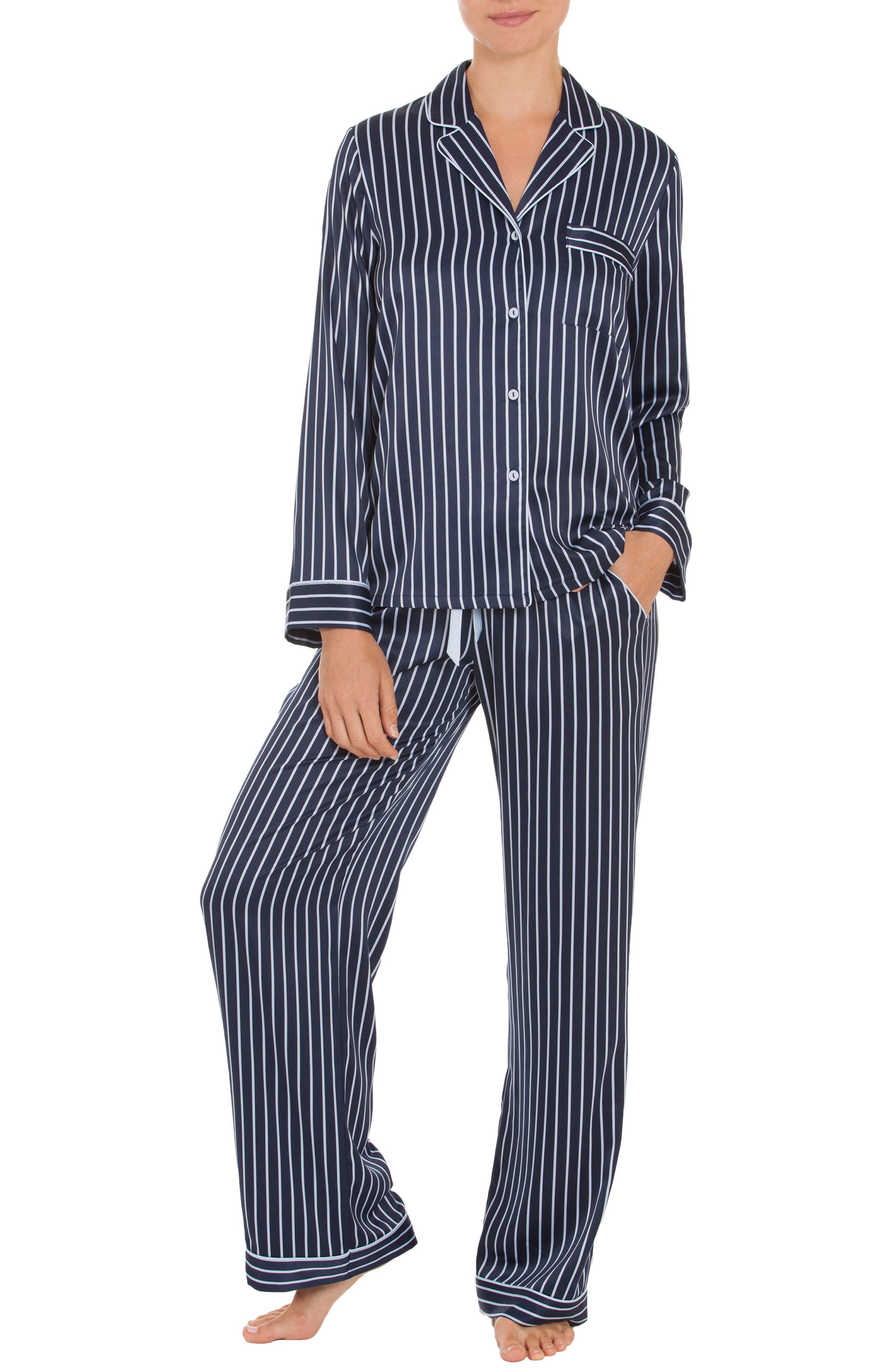 Pajamas,                             Main thumbnail 1, color,                             Navy Stripe
