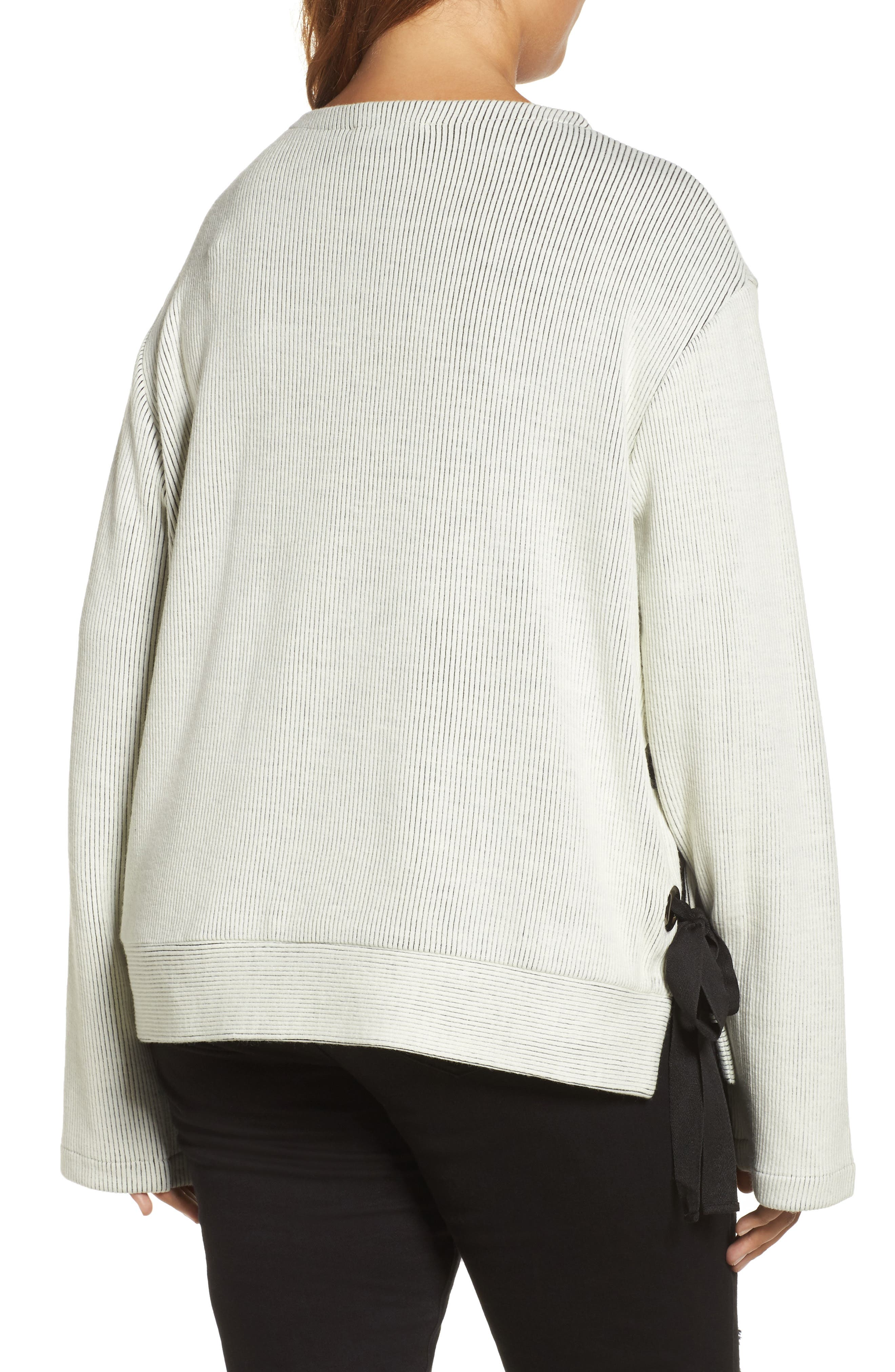 Alternate Image 2  - ELVI Ribbed Eyelet Sweater (Plus Size)