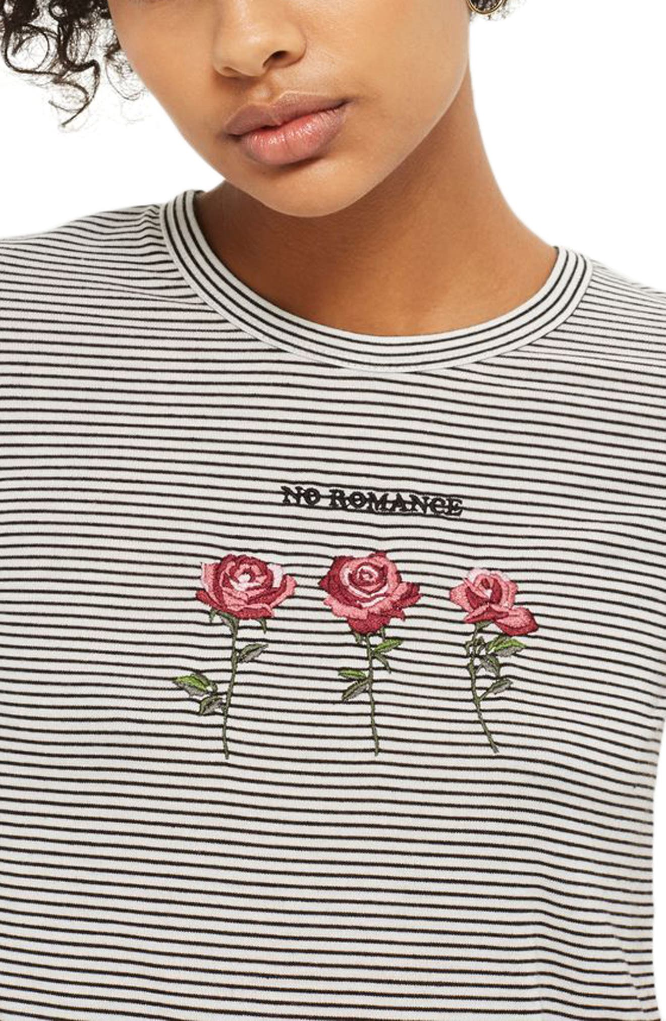 Alternate Image 2  - Topshop No Romance Graphic Stripe Tee
