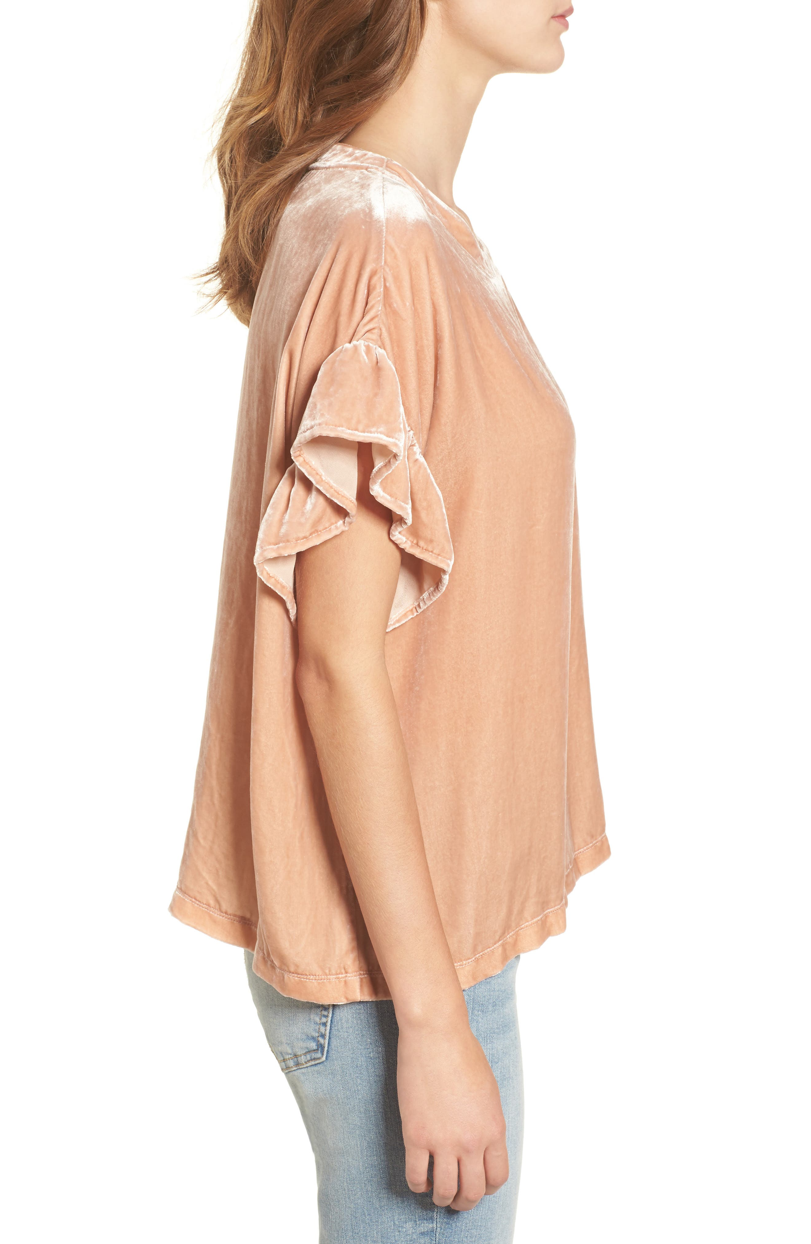 The Janie Velvet Top,                             Alternate thumbnail 3, color,                             Muted Misty Rose