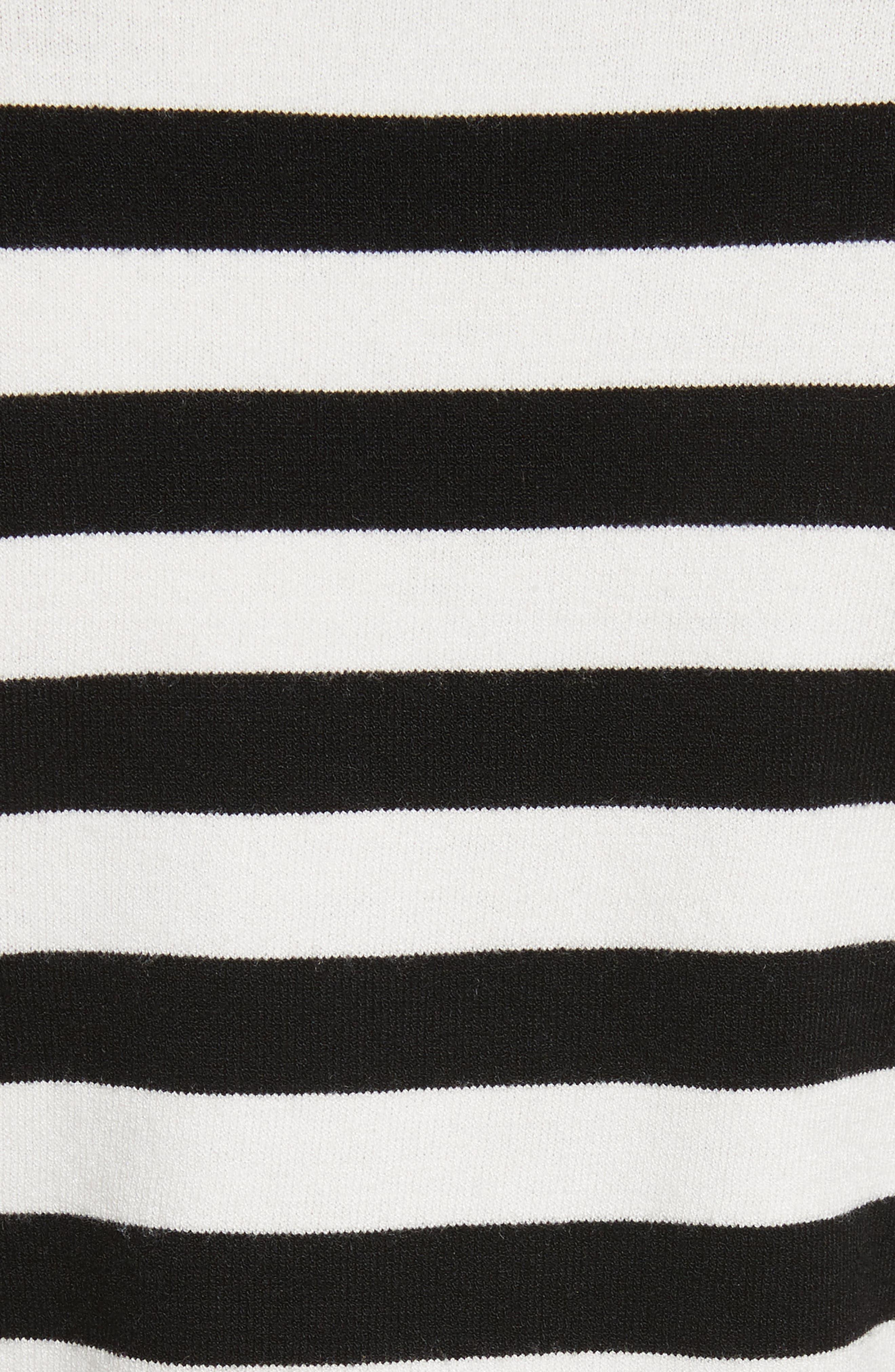 Bell Sleeve V-Neck Sweater,                             Alternate thumbnail 6, color,                             Black/ White