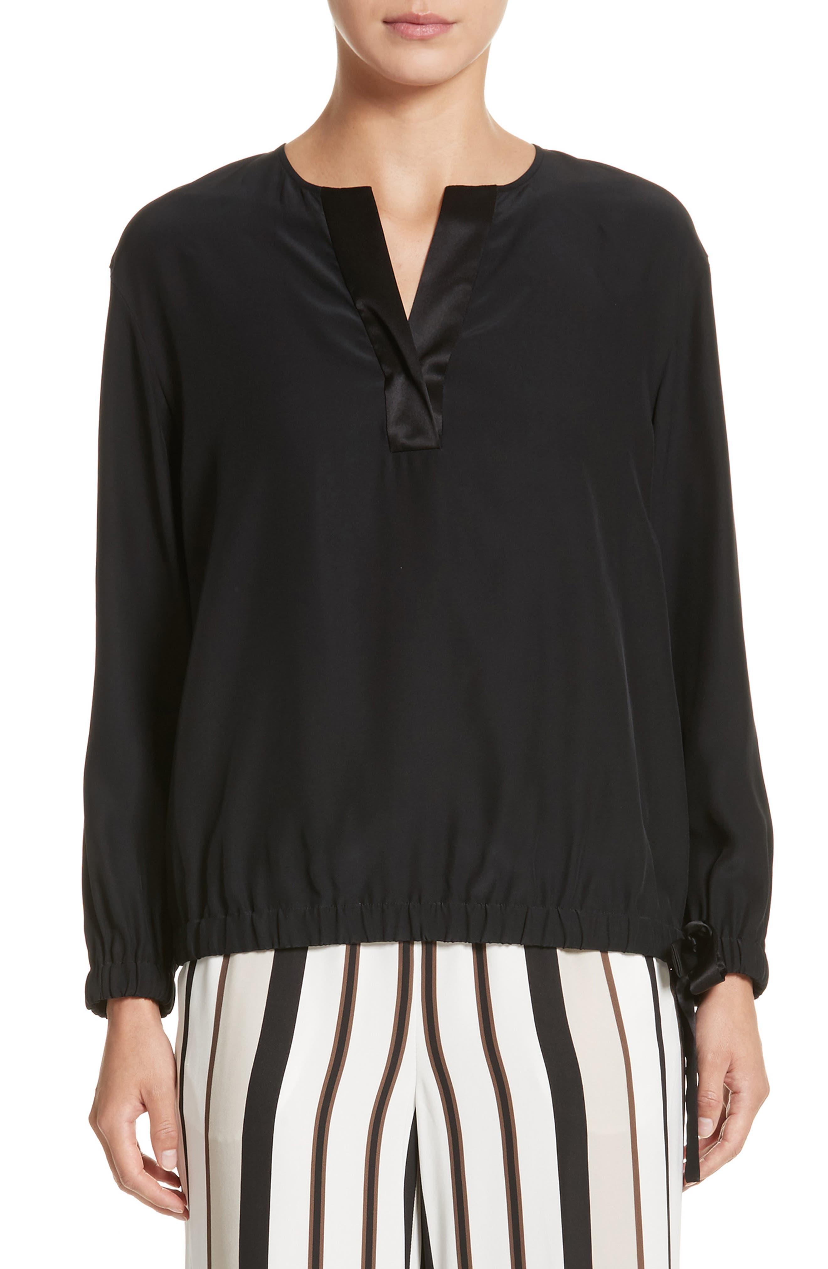 Joan Tie Hem Silk Blouse,                         Main,                         color, Black