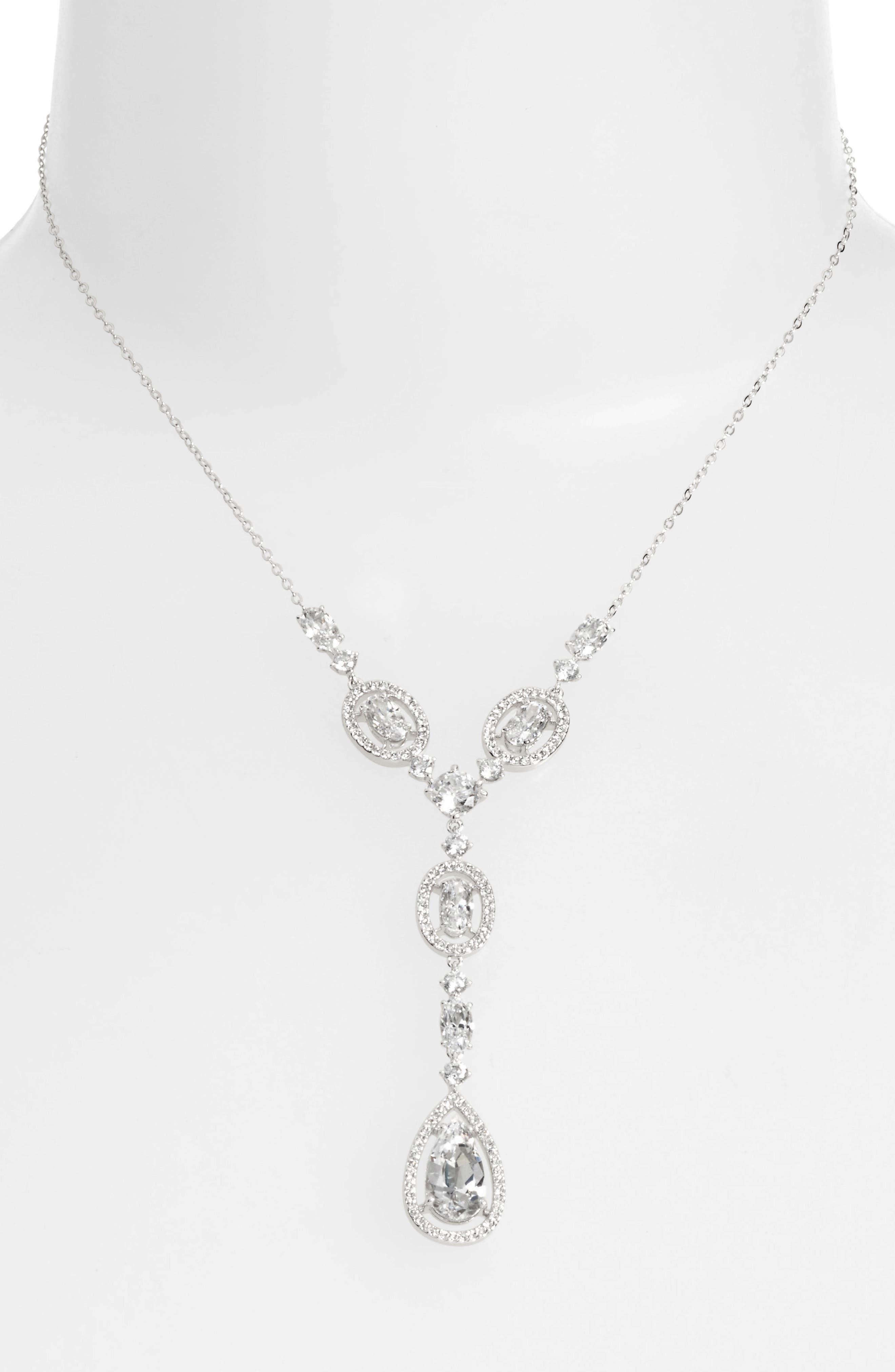Cubic Zirconia Y-Necklace,                         Main,                         color, Silver