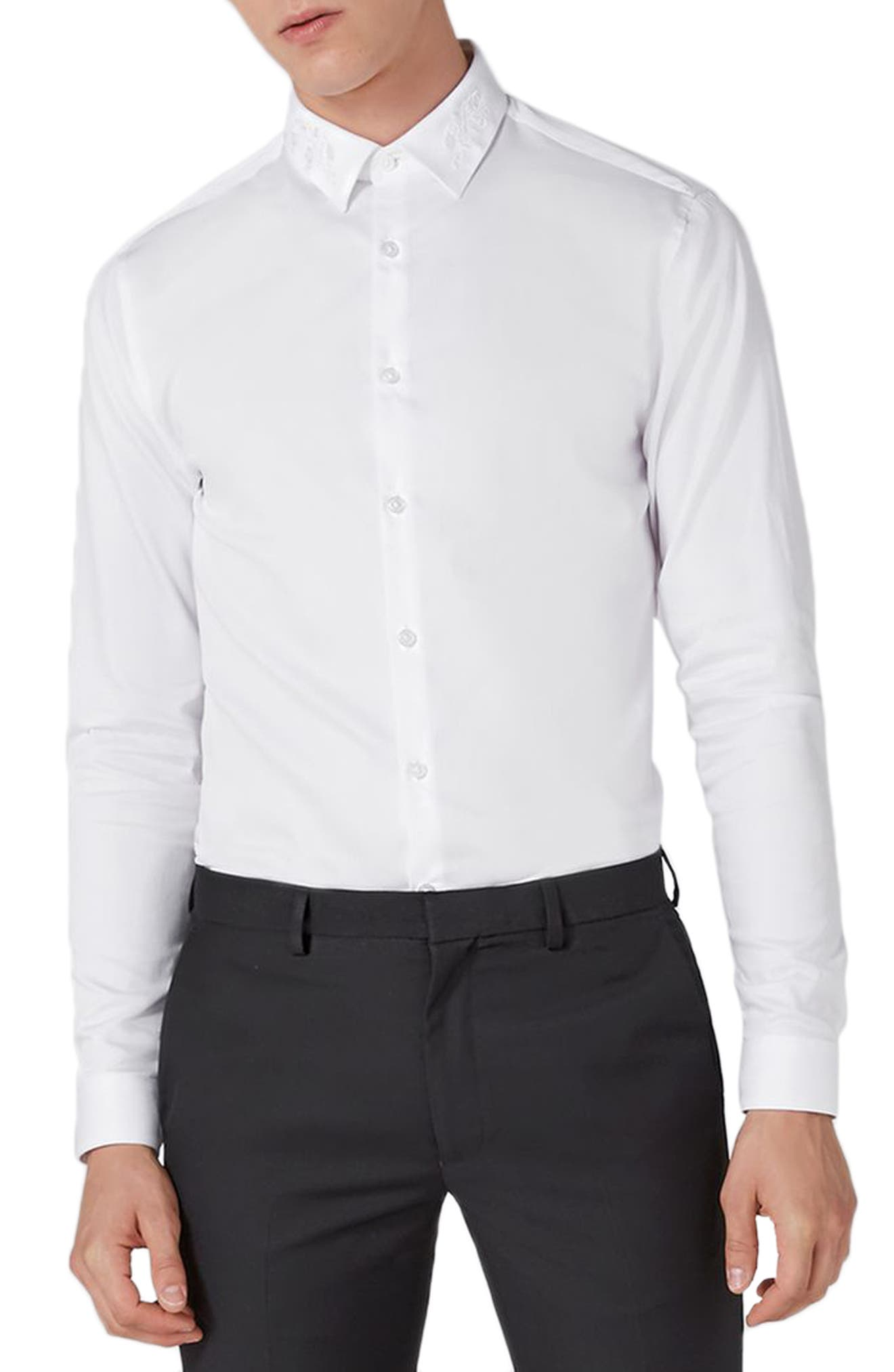 Slim Fit Embroidered Collar Dress Shirt,                             Alternate thumbnail 2, color,                             White