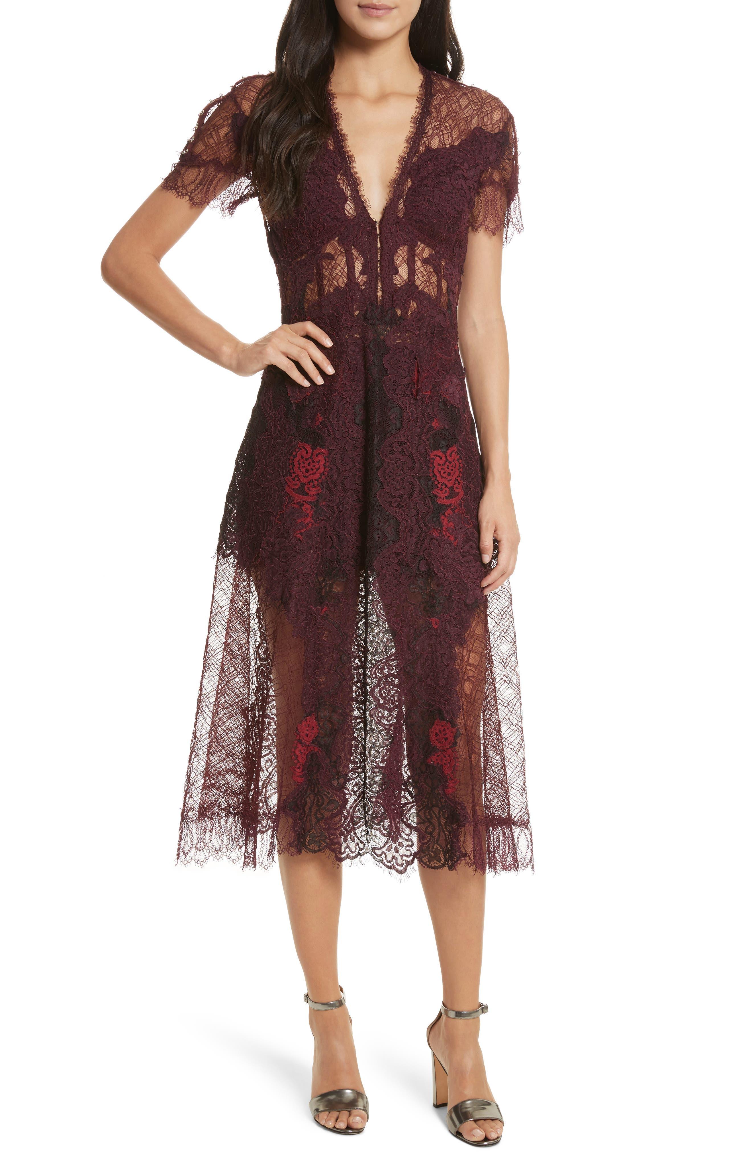 Grommet Detail Lace Dress,                         Main,                         color, Crimson