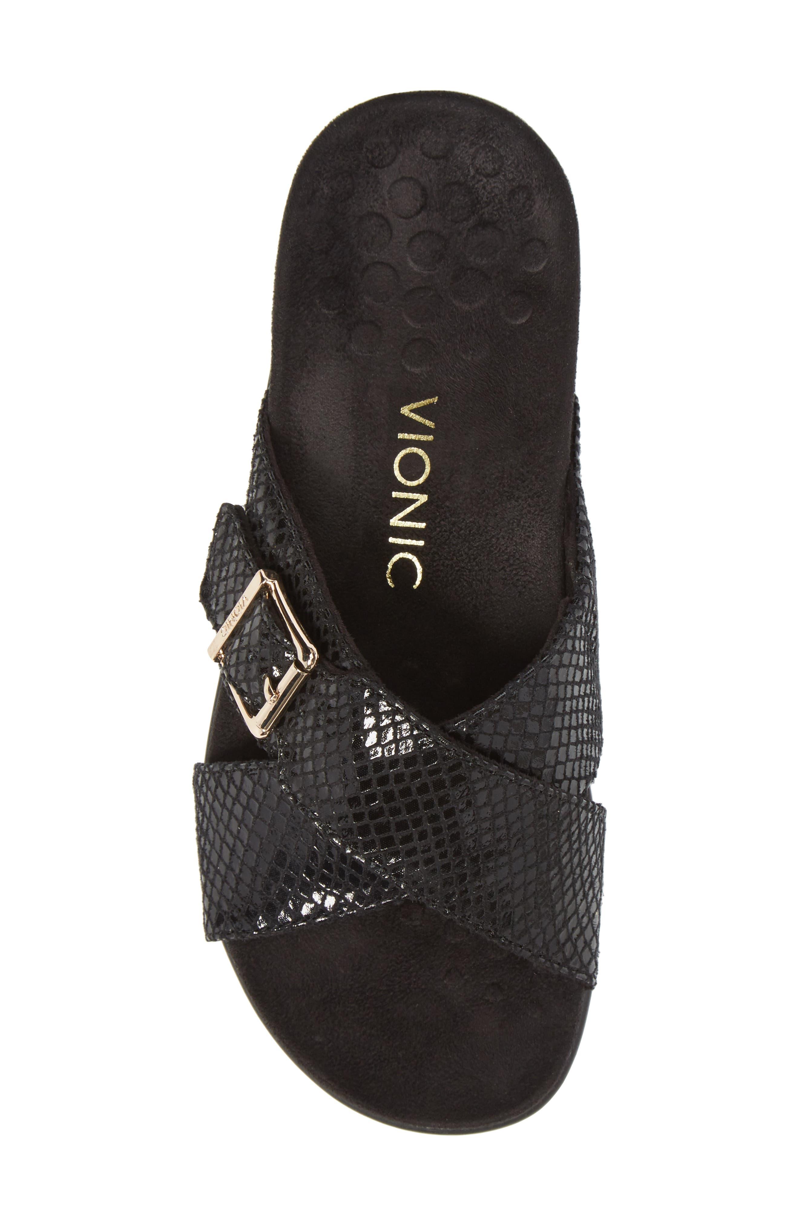 Dorie Cross Strap Slide Sandal,                             Alternate thumbnail 5, color,                             Black Snake Faux Leather