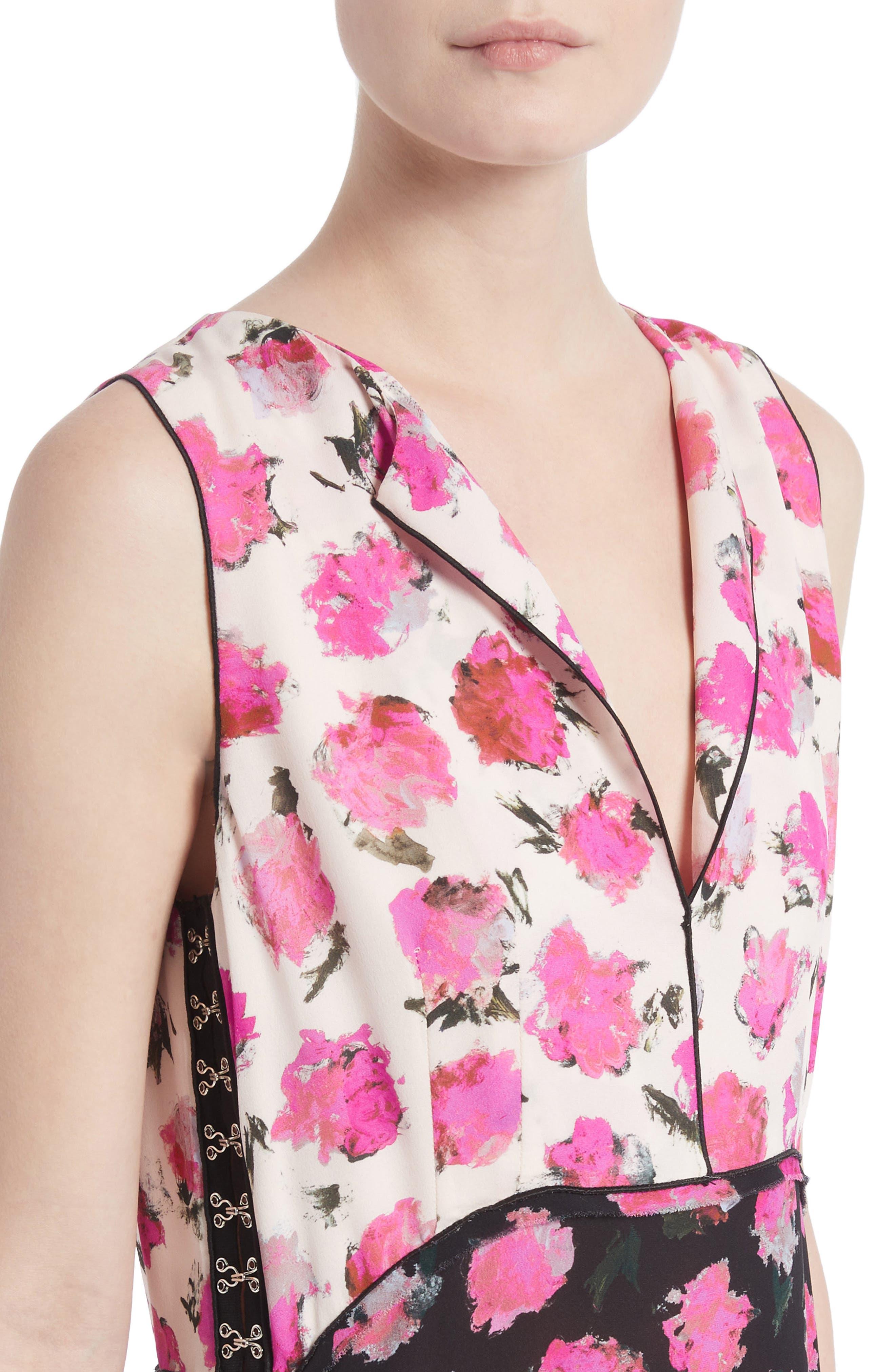 Floral Print Silk Georgette Top,                             Alternate thumbnail 4, color,                             Black/ Fucshia Carnation