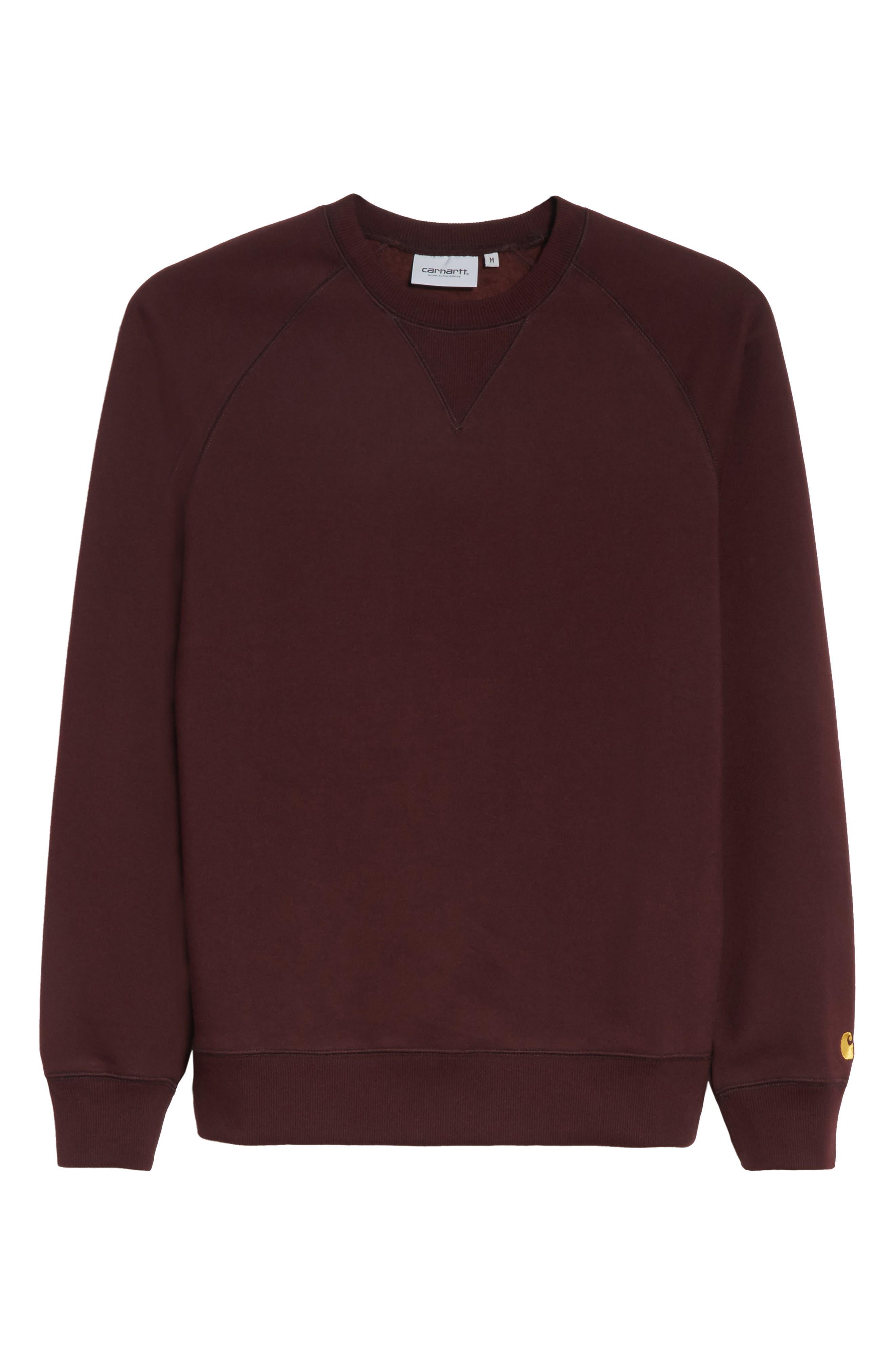 Crewneck Sweatshirt,                             Alternate thumbnail 6, color,                             Damson/ Gold