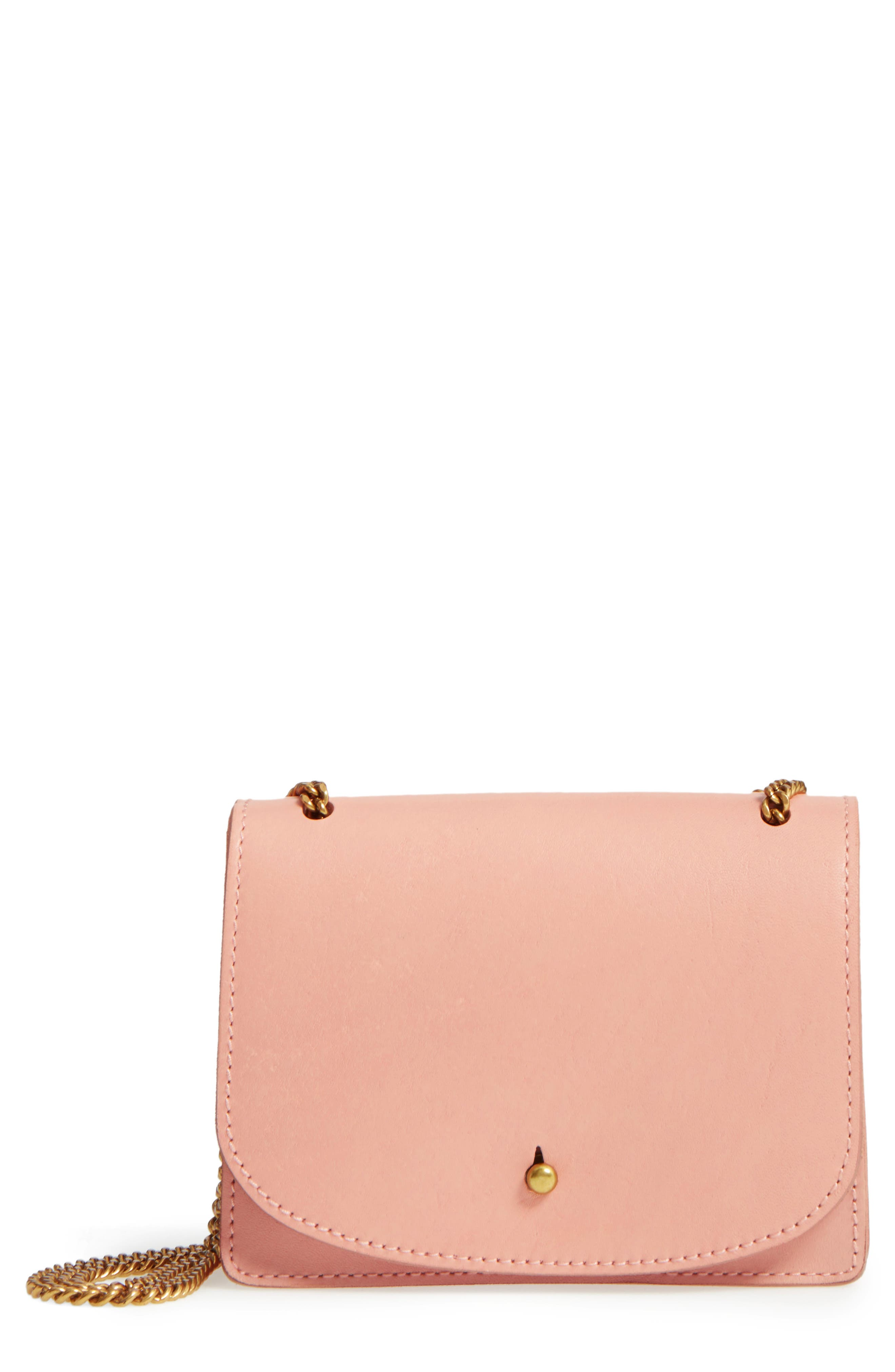 Leather Crossbody Wallet,                         Main,                         color, Tinted Blush