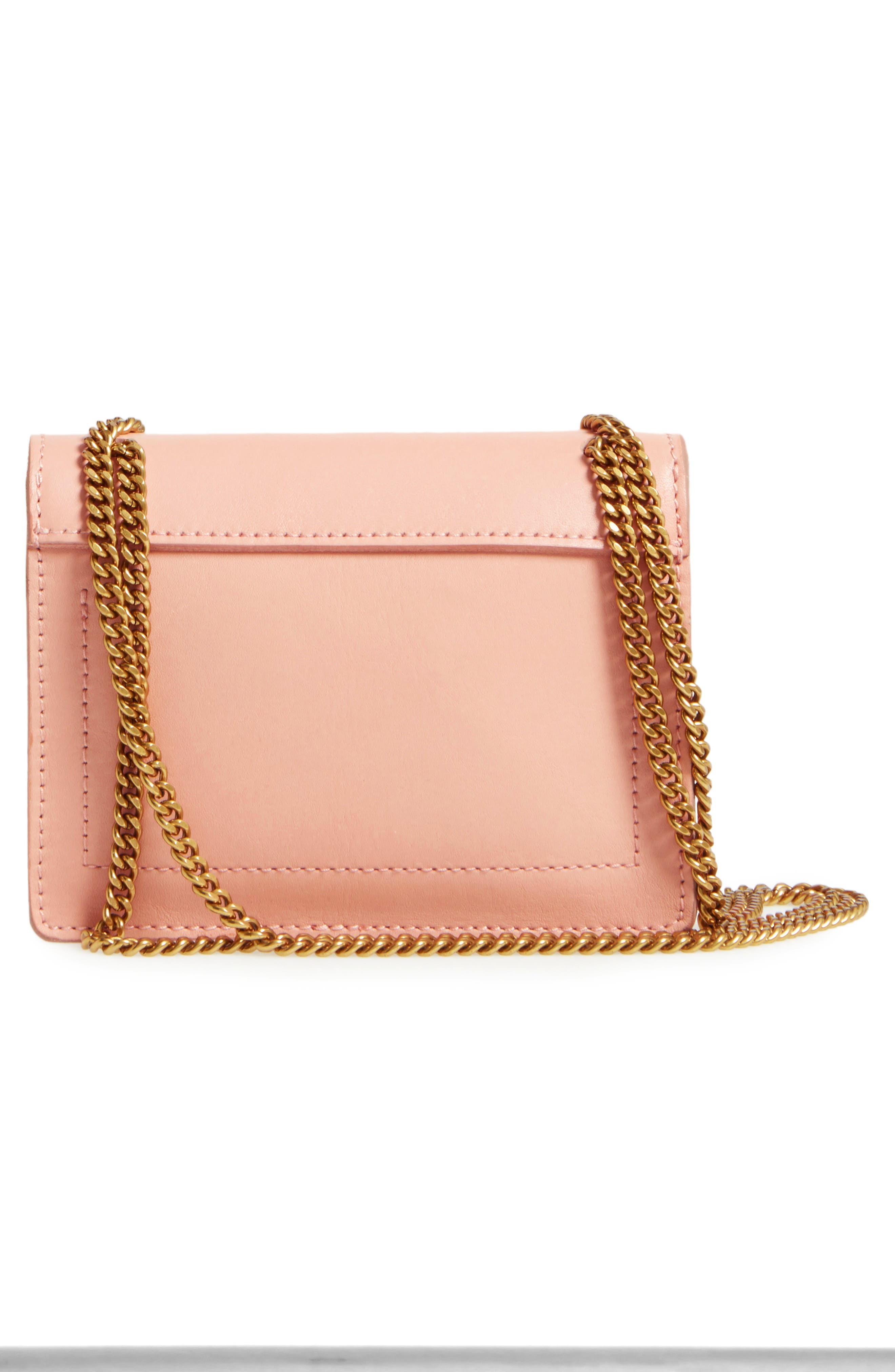 Leather Crossbody Wallet,                             Alternate thumbnail 3, color,                             Tinted Blush