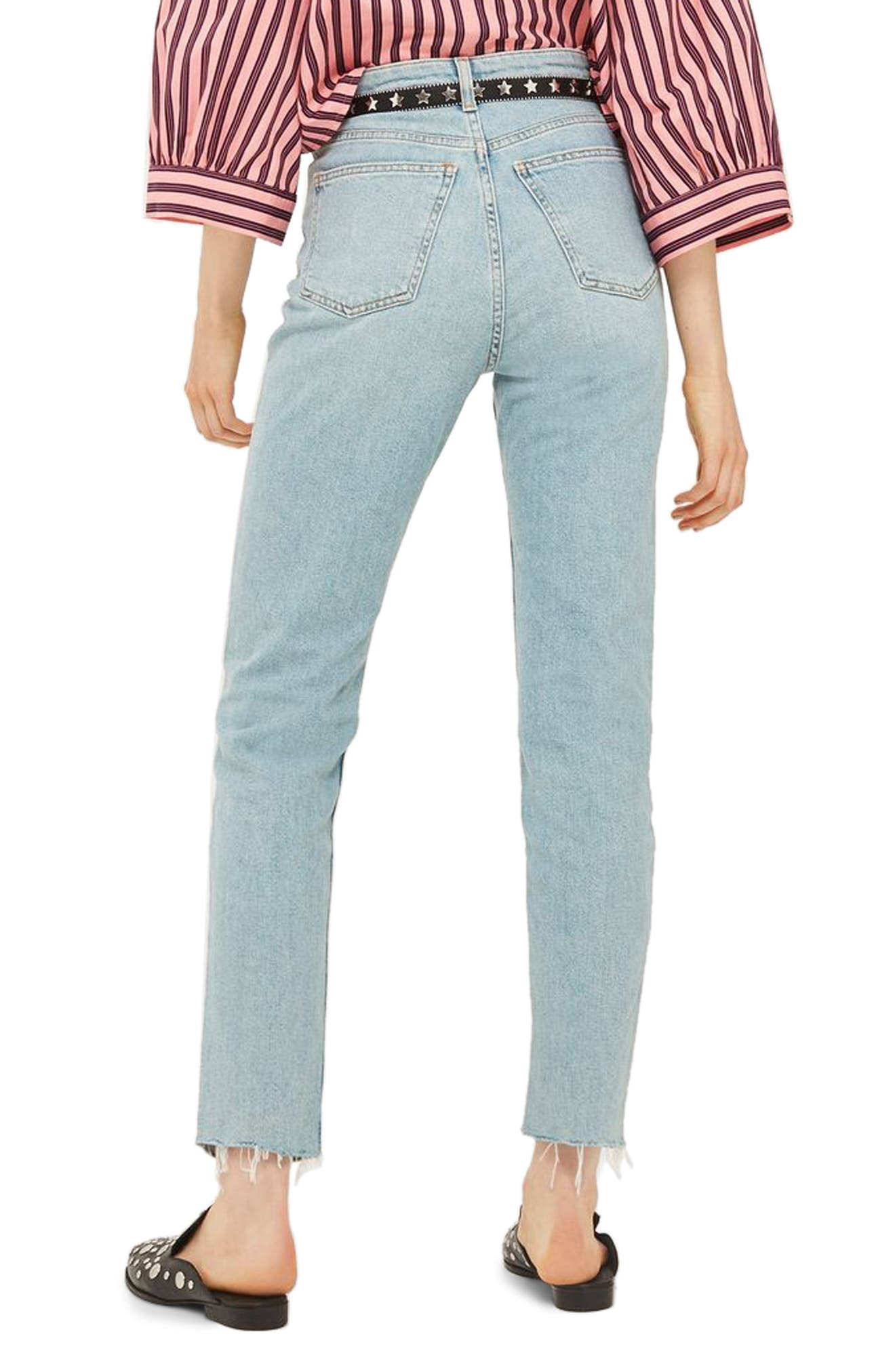 Alternate Image 2  - Topshop Vintage Bleach Raw Hem Straight Leg Jeans