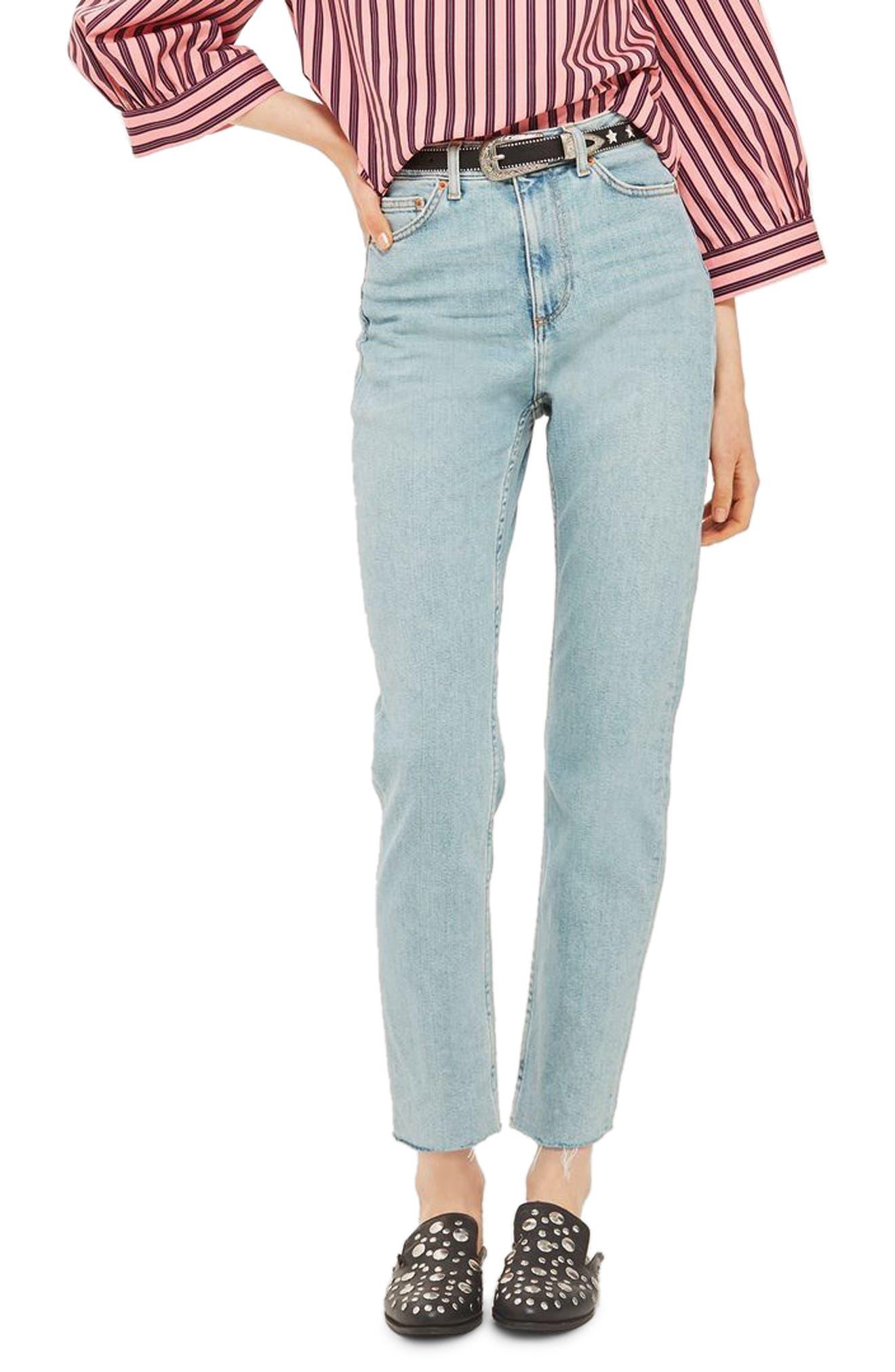 Main Image - Topshop Vintage Bleach Raw Hem Straight Leg Jeans