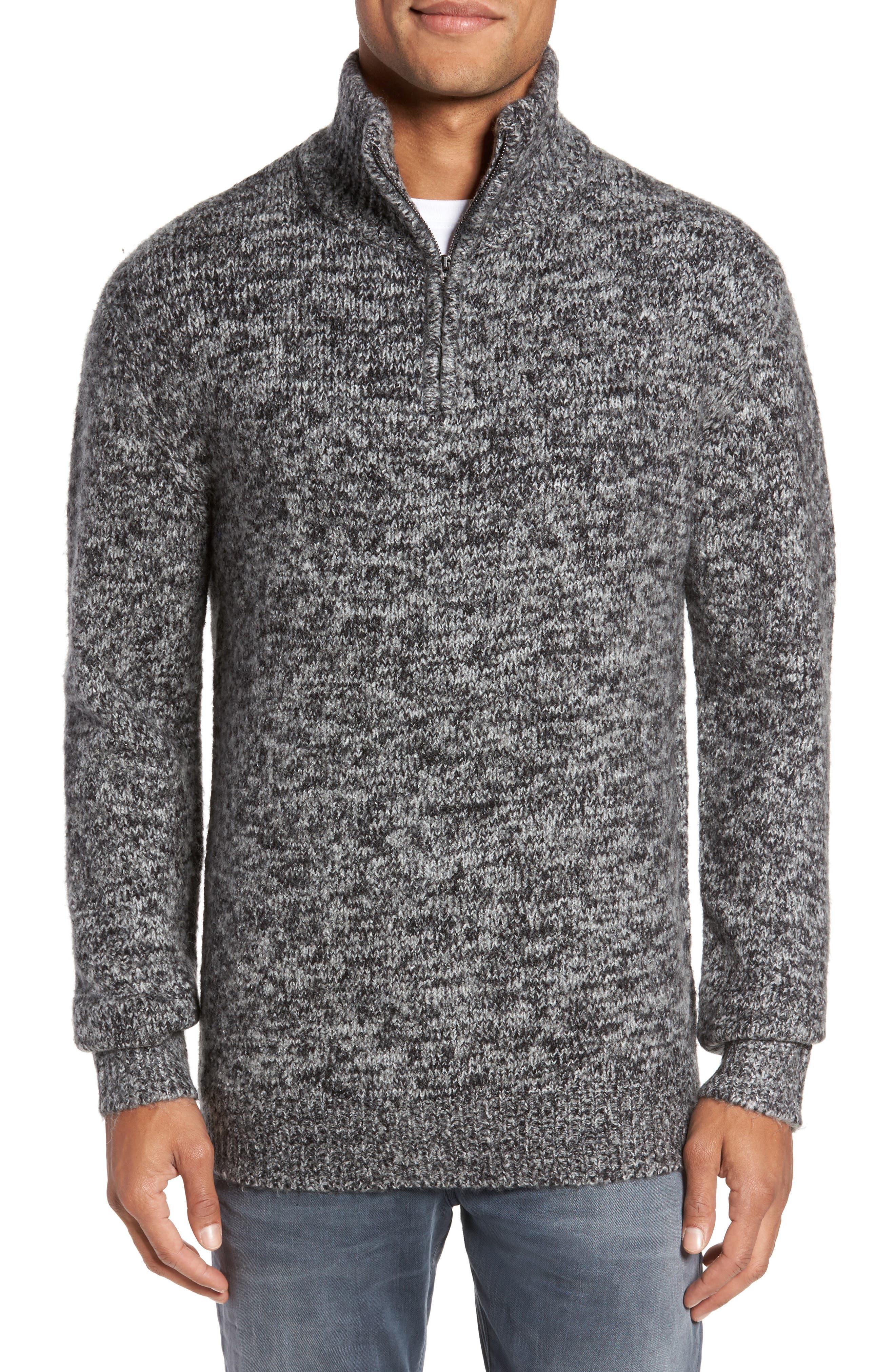 Quarter Zip Knit Pullover,                         Main,                         color, Charcoal/ Black