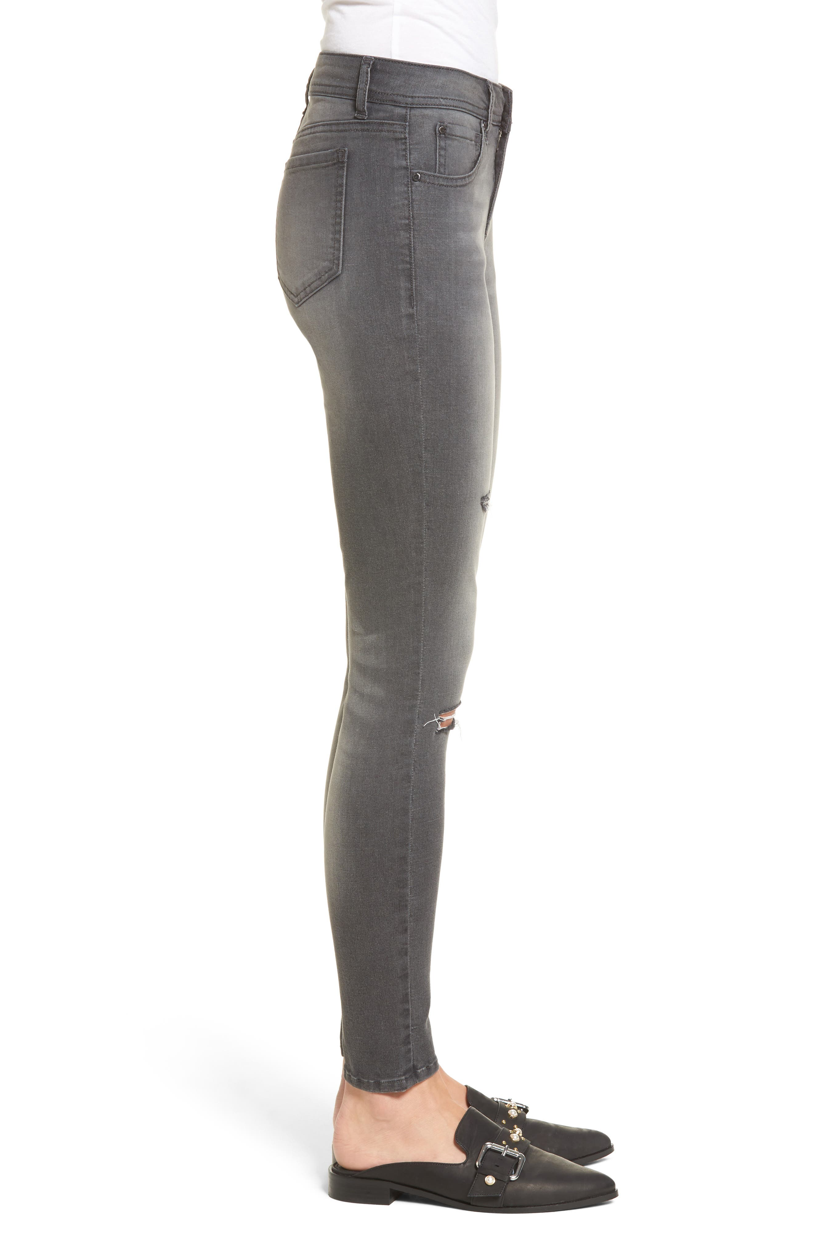 Ripped Skinny Jeans,                             Alternate thumbnail 3, color,                             Rebelite Charcoal