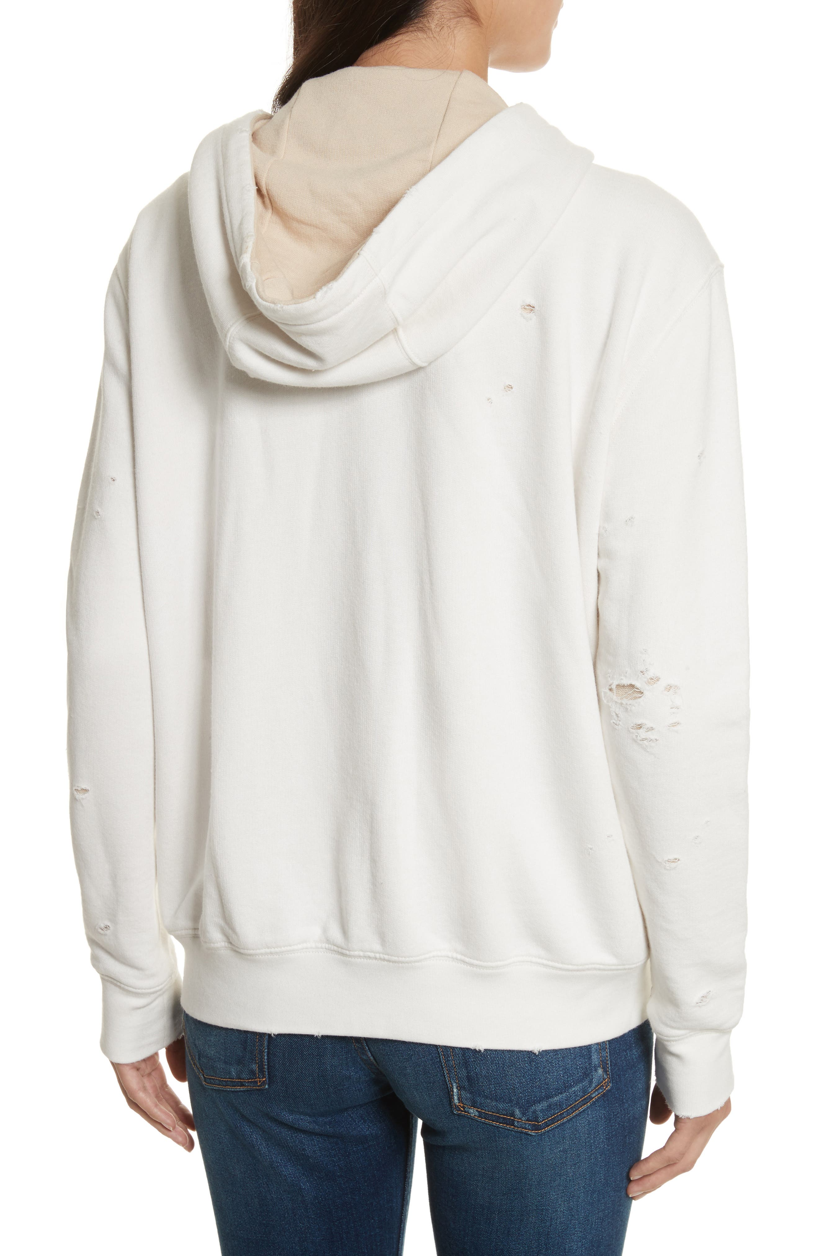 Double Layer French Terry Hoodie,                             Alternate thumbnail 2, color,                             Chalk/ Sandstone