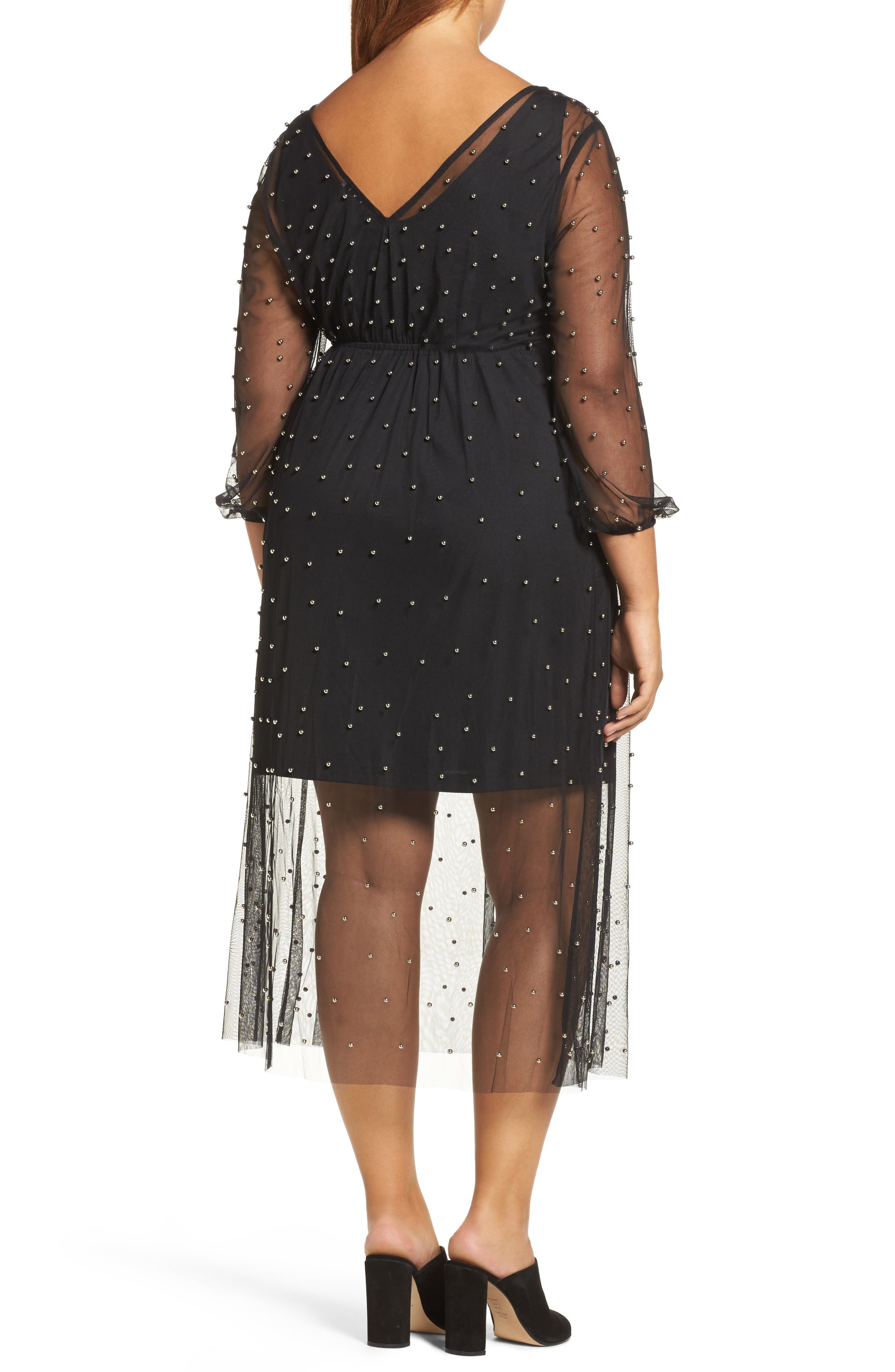 Beaded Mesh Midi Dress,                             Alternate thumbnail 2, color,                             Black