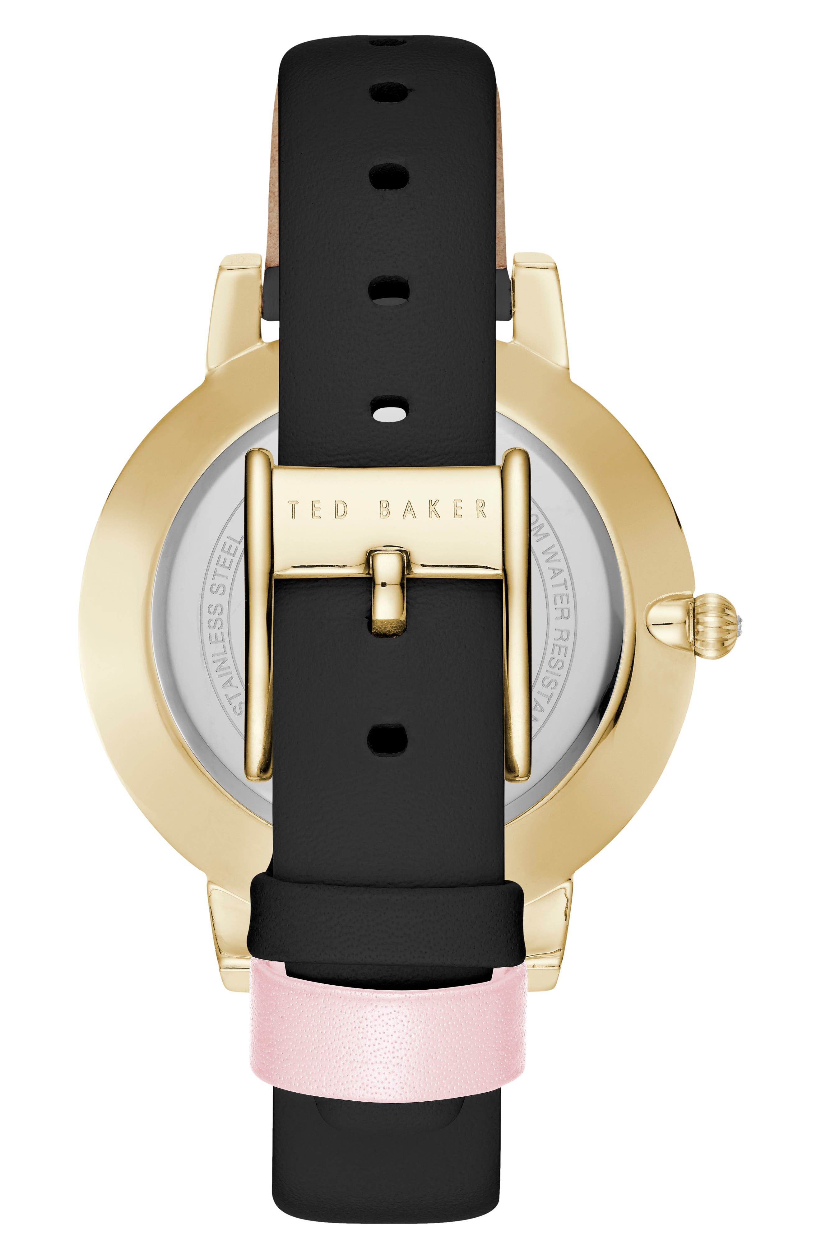 Kate Leather Strap Watch, 38mm,                             Alternate thumbnail 2, color,                             Black/ Mop/ Gold