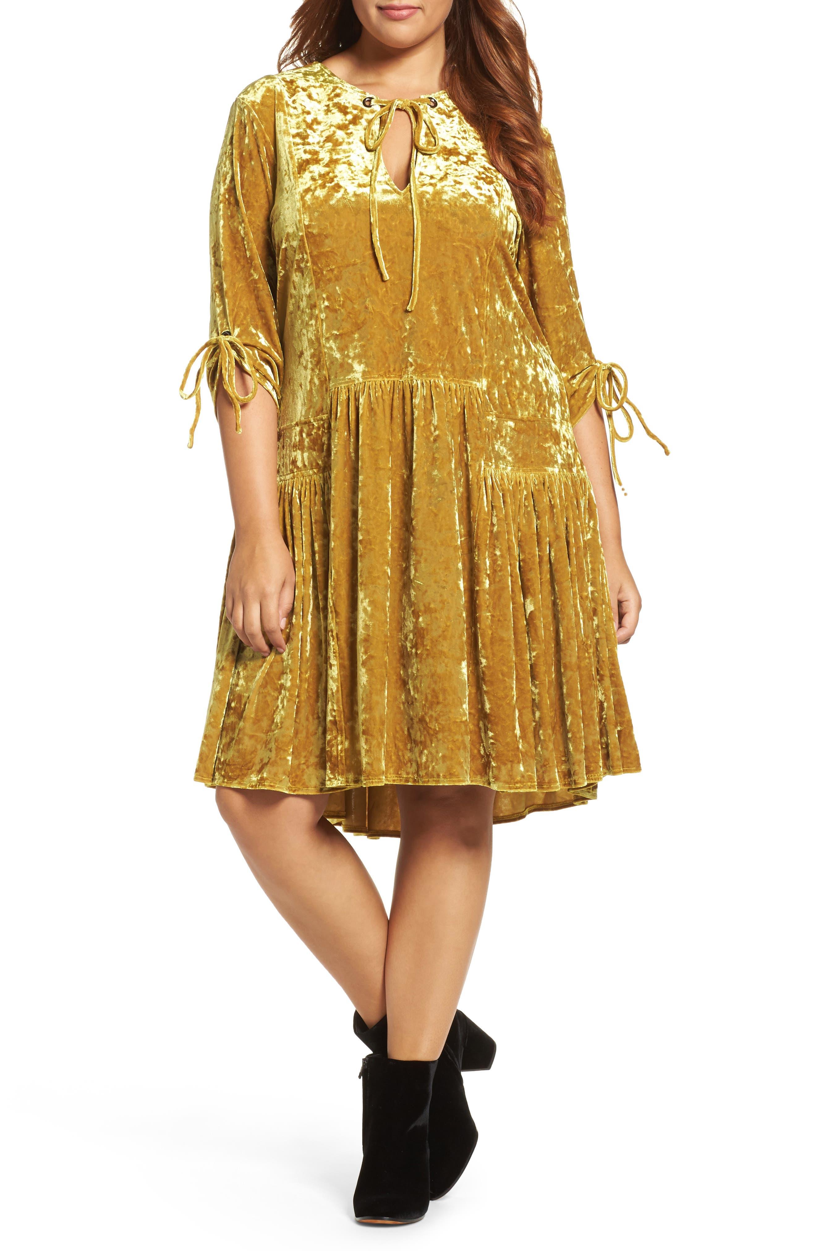 Drop Waist Crushed Velvet Dress,                         Main,                         color, Mustard