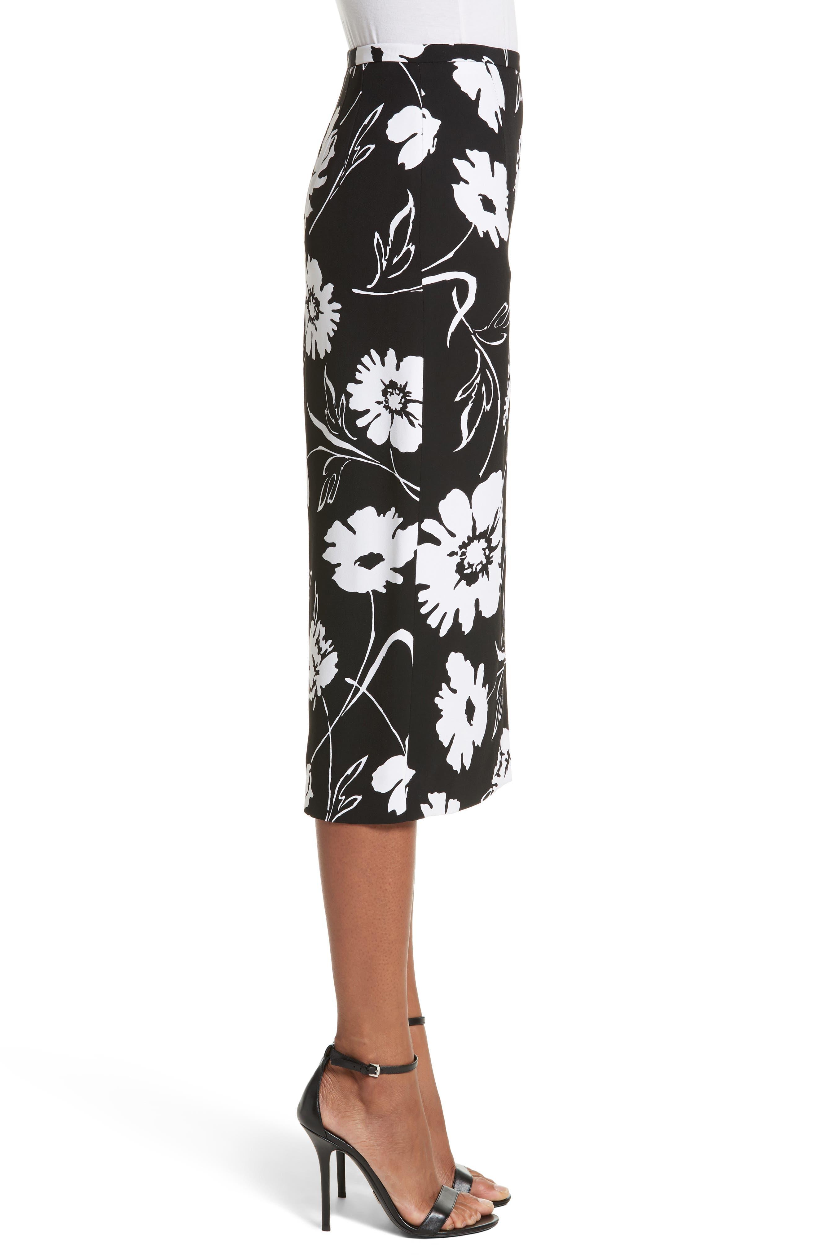 Floral Print Pencil Skirt,                             Alternate thumbnail 3, color,                             Black / White