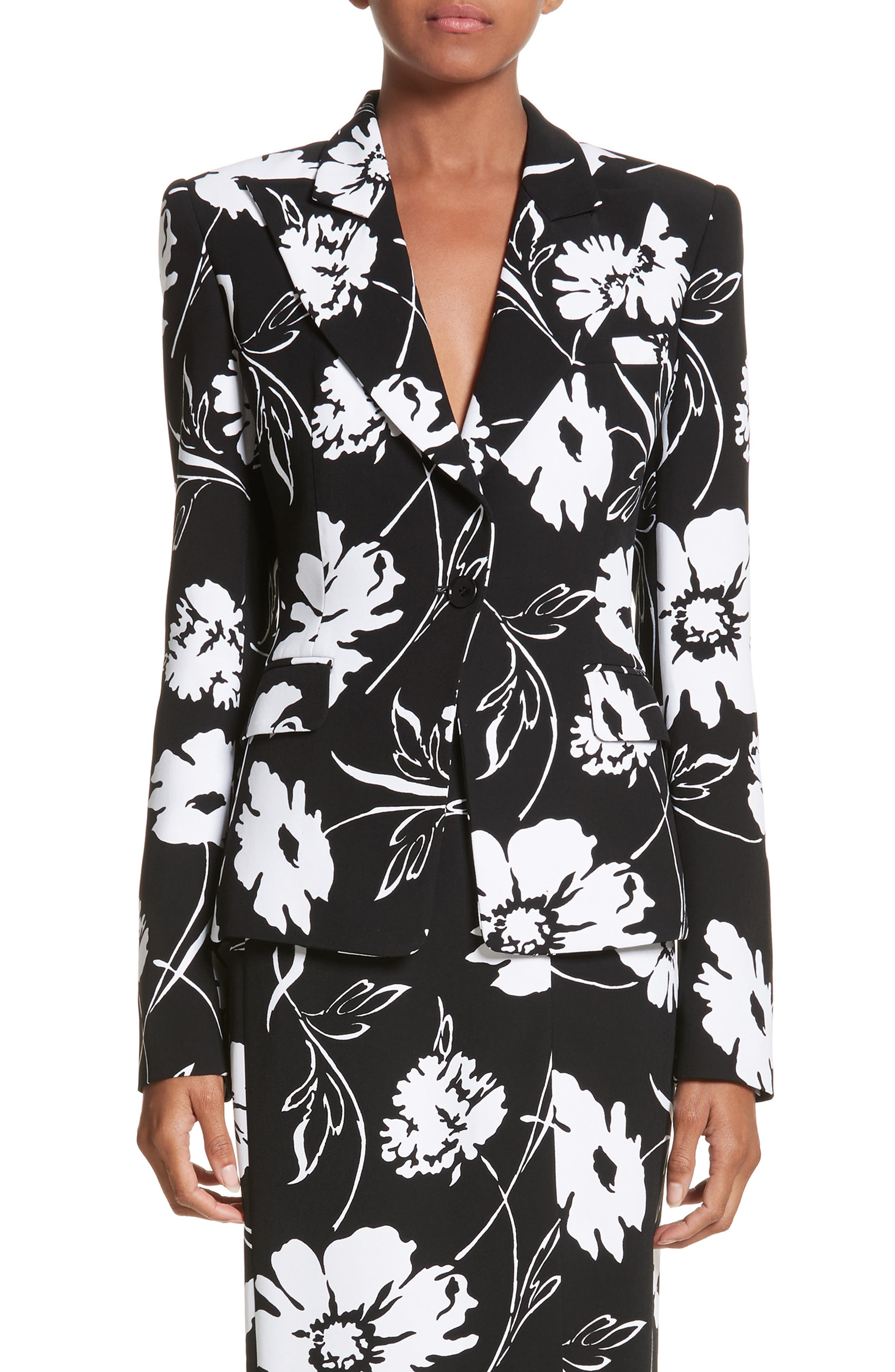 Floral Print Blazer,                             Main thumbnail 1, color,                             Black / White