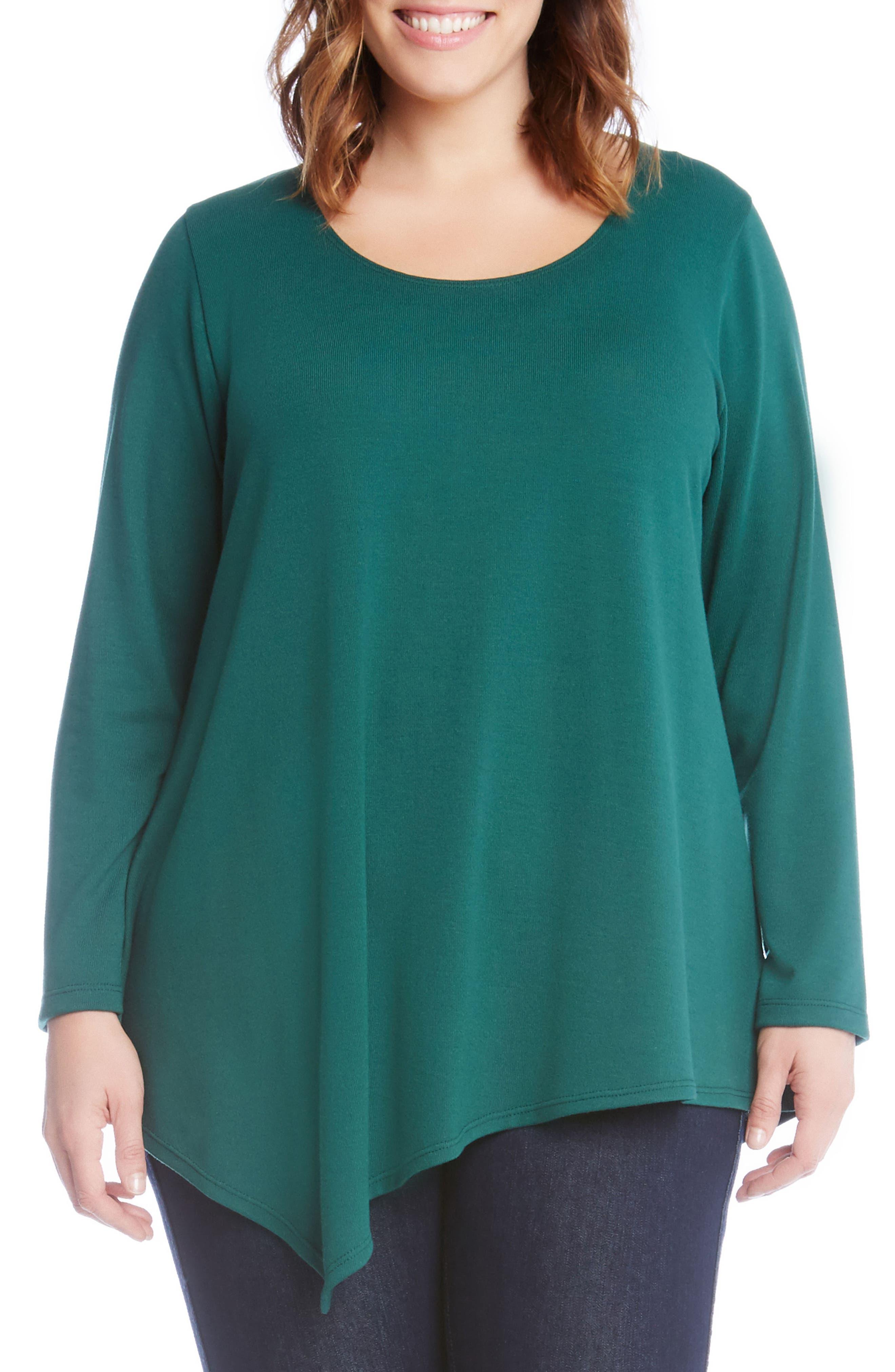 Alternate Image 1 Selected - Karen Kane Asymmetrical Hem Sweater (Plus Size)